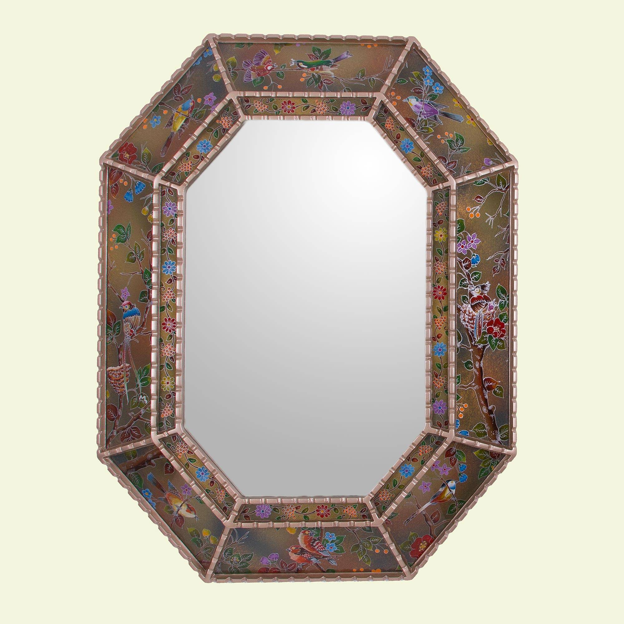 Favorite Bird Wall Mirrors Within Reverse Painted Glass Floral Bird Wall Mirror From Peru, 'bird Land In Gold' (View 14 of 20)