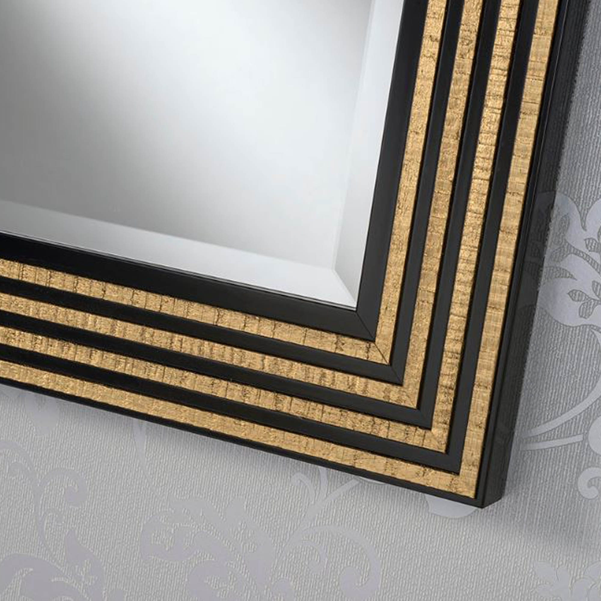 Favorite Black And Gold Wall Mirrors In Black And Gold Line Rectangular Wall Mirror (View 8 of 20)