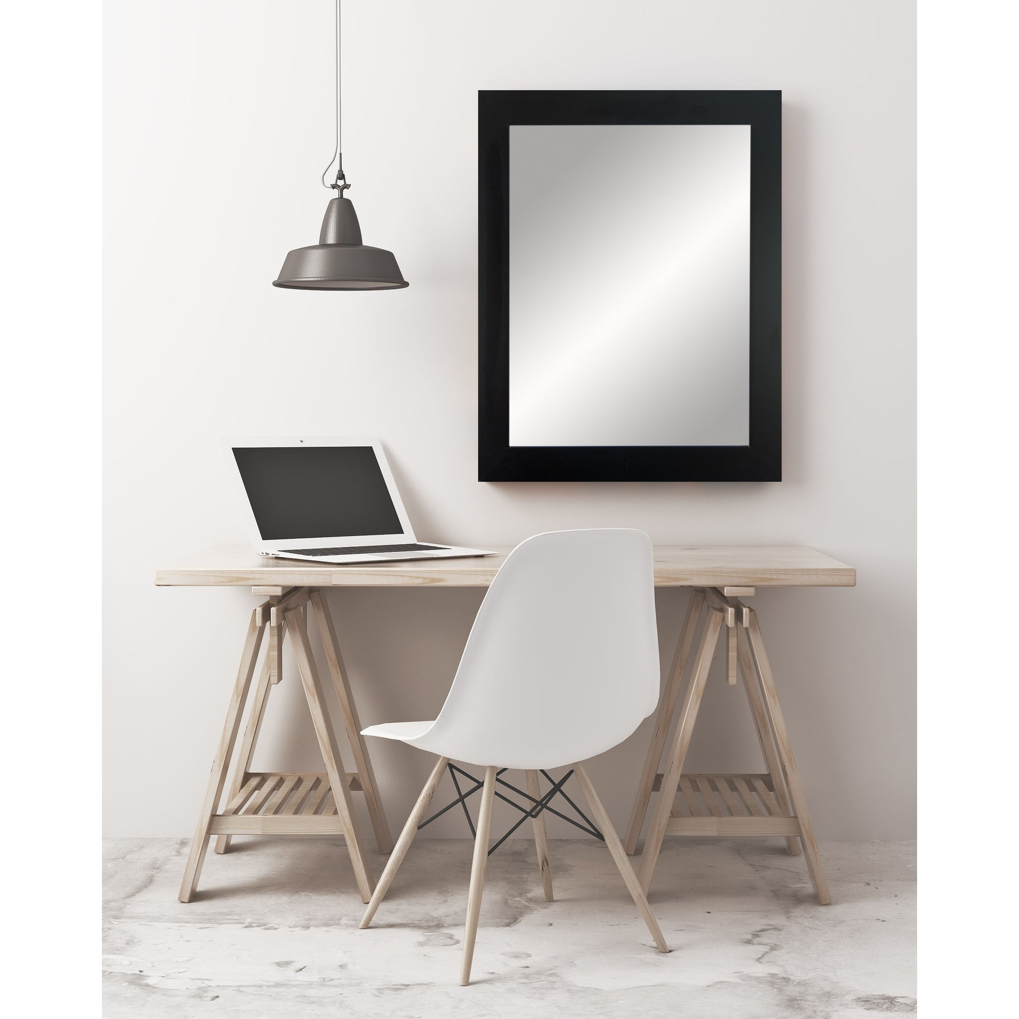 Favorite Black Framed Wall Mirrors Regarding Brandtworks Black Entry Way Framed Wall Mirror 32''x 36'' – Brushed – A (View 15 of 20)