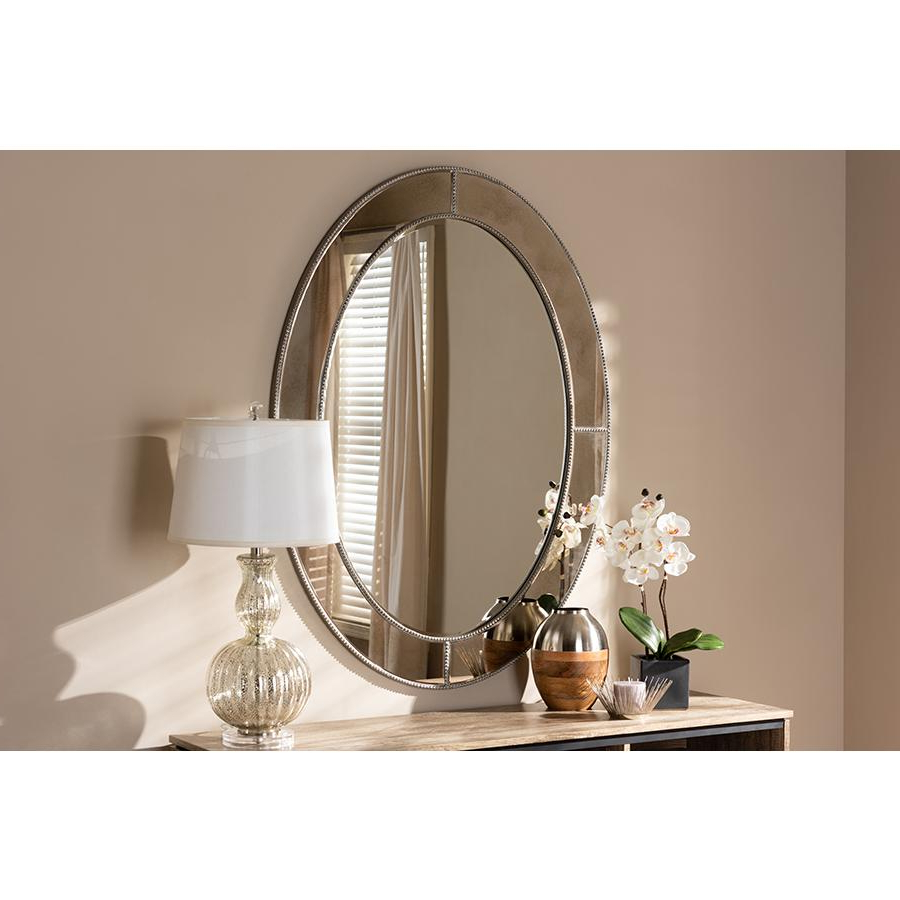 Favorite Branca Modern And Contemporary Antique Silver Finished Oval Accent Wall  Mirrorbaxton Studio Throughout Modern & Contemporary Beveled Accent Mirrors (View 4 of 20)