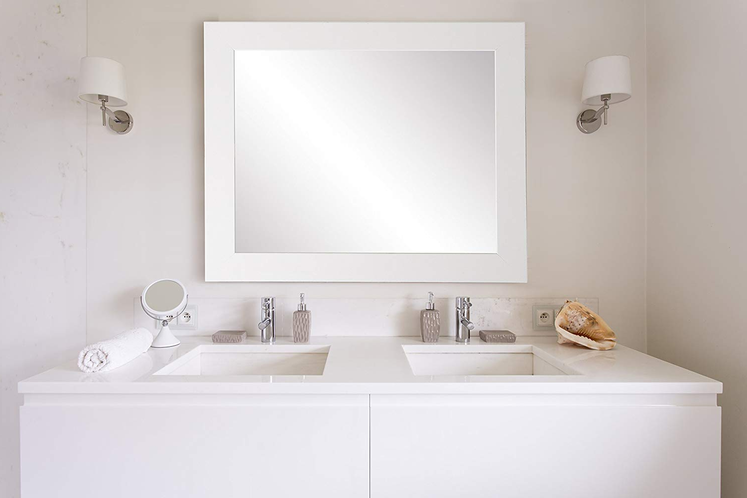 "Favorite Brandtworks 32"" X 38"" Wall Mirror, Large, White In Large White Framed Wall Mirrors (View 10 of 20)"