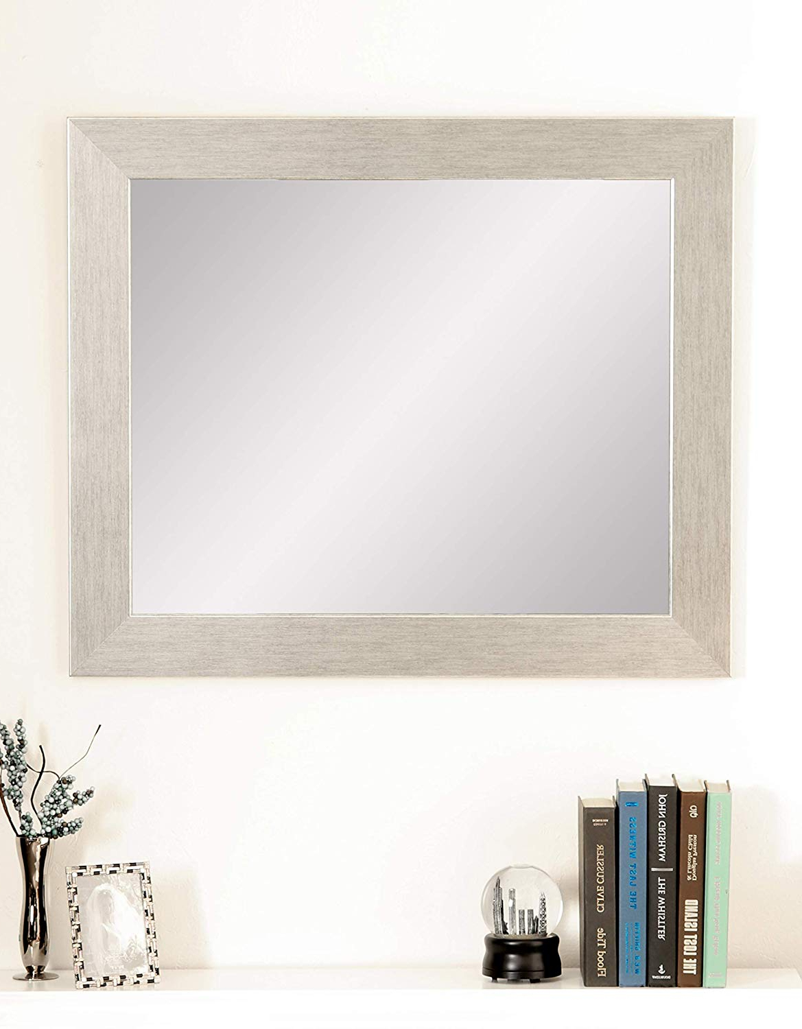 "Favorite Brandtworks Stainless Grain Wall Mirror, 32"" X 38"", Flat Brushed Silver Pertaining To Flat Wall Mirrors (View 6 of 20)"