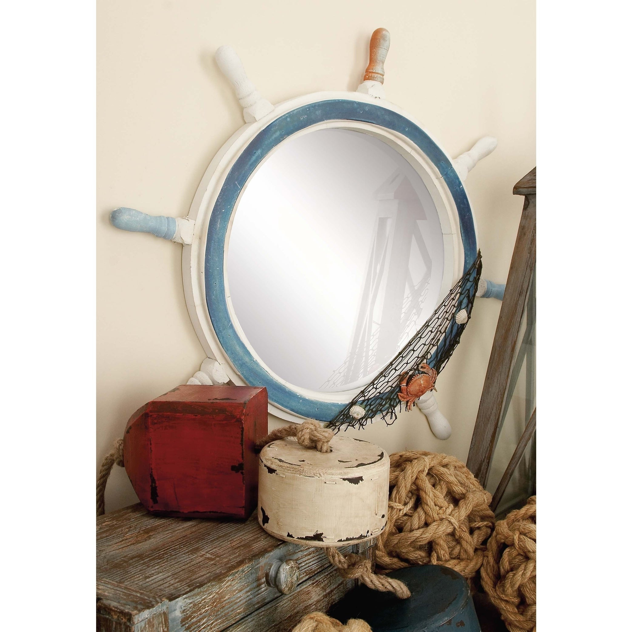 Favorite Coastal Wall Mirrors Intended For Coastal 24 Inch Blue And White Ship's Wheel Wall Mirrorstudio 350 –  Multi (View 8 of 20)