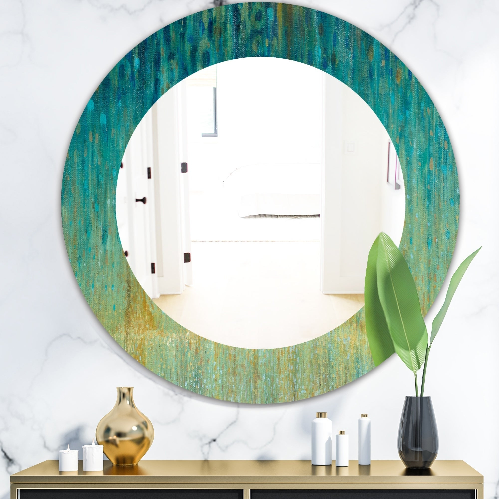 Favorite Designart 'rain Abstract Panel' Modern Bathroom Mirror – Frameless Contemporary Oval Or Round Wall Mirror – Blue For Contemporary Bathroom Wall Mirrors (View 13 of 20)