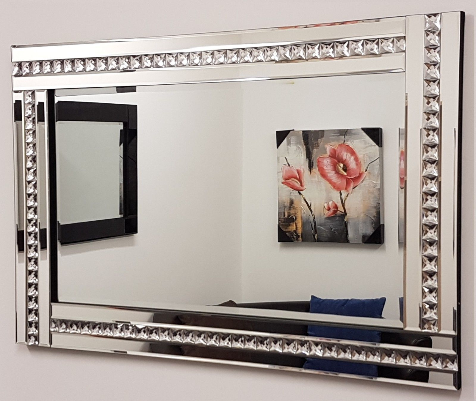 """Favorite Details About Alma Crystal Glass Frame Silver Bevelled Wall Mirror 60Cm X 90Cm 24""""x36"""" Large For Large Glass Bevelled Wall Mirrors (View 15 of 20)"""
