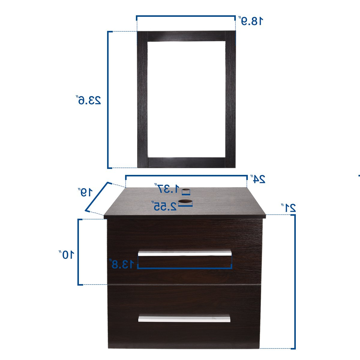 """Favorite Elecwish 24"""" Modern Bathroom Vanity Set With Mirror, Wood Wall Mounted Cabinet, 2 Drawers, Brown In Wall Mirrors With Drawers (View 13 of 20)"""