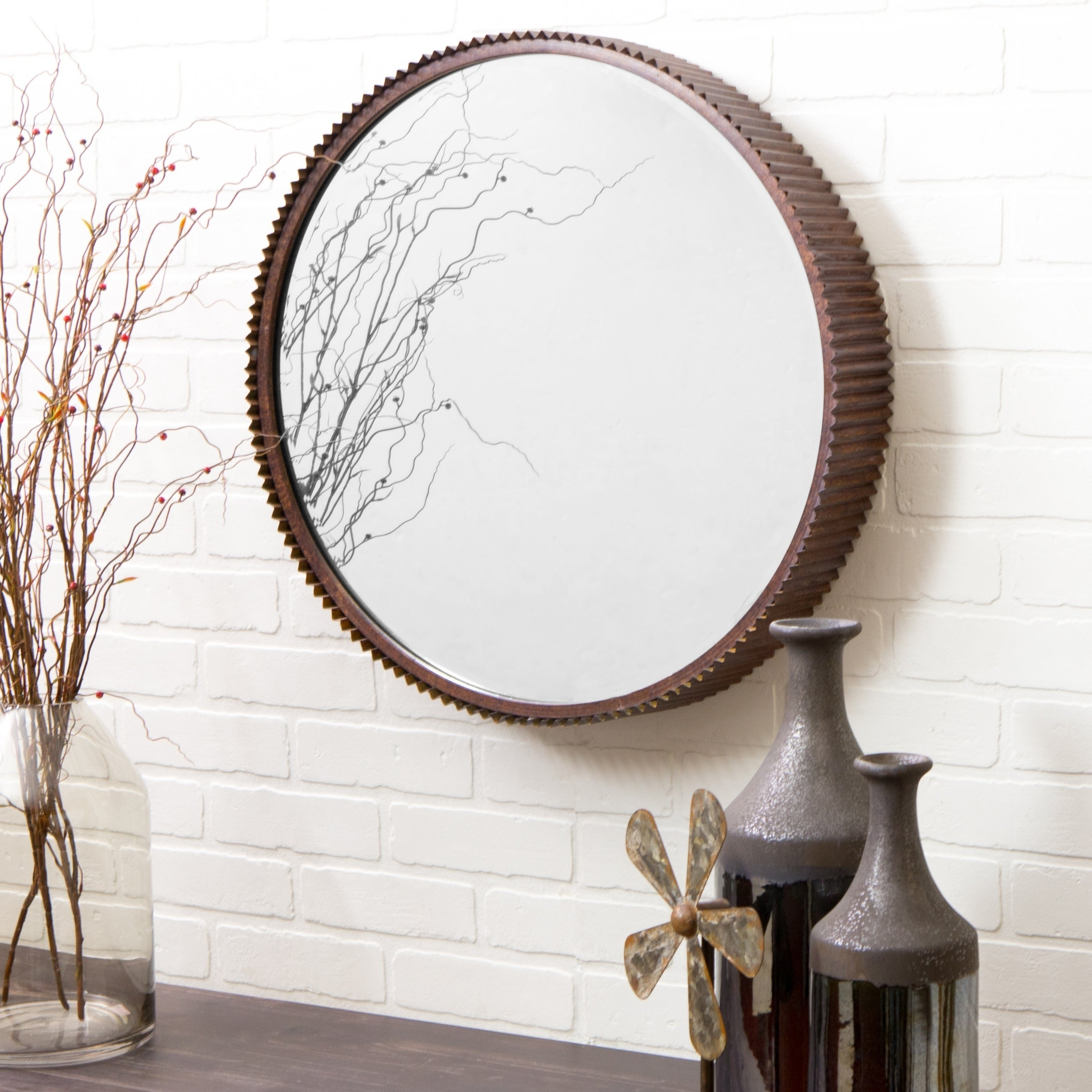 Favorite Harrison Rustic Metal Wall Mirror – Brown Intended For Brown Wall Mirrors (View 11 of 20)