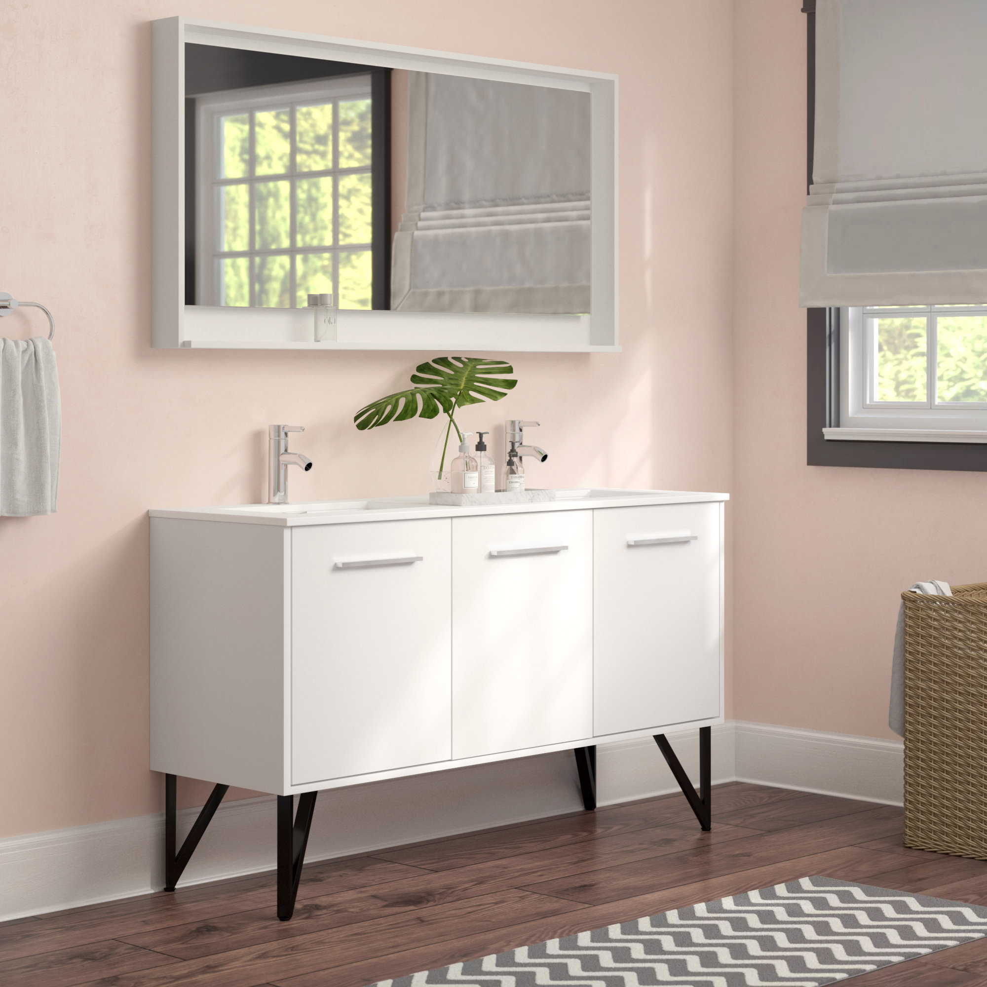 Favorite Langley Street Almaraz 59 Double Bathroom Vanity Set With Mirror For Mexborough Bathroom/vanity Mirrors (View 7 of 20)