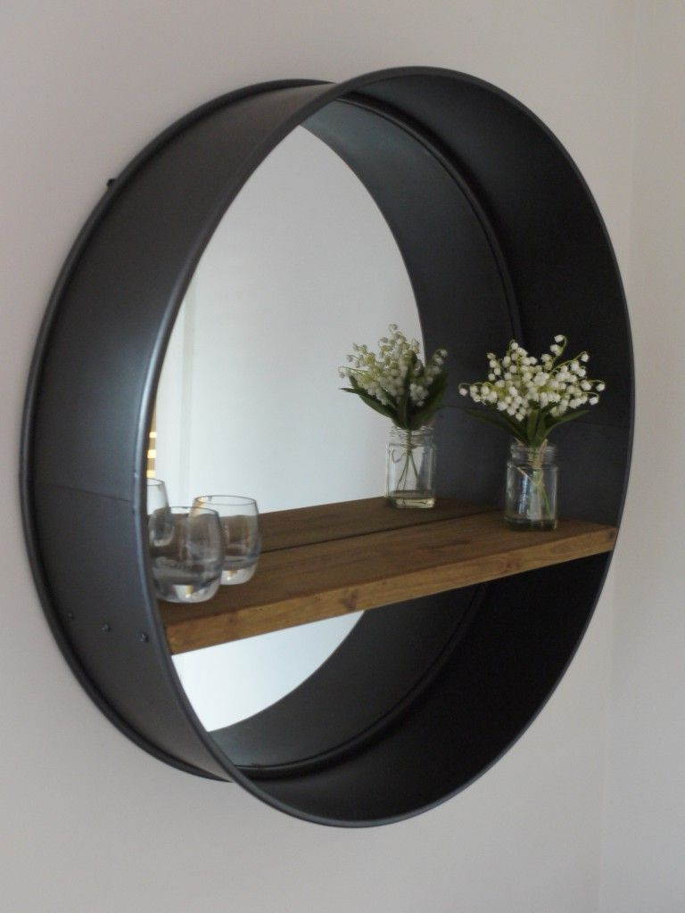 Favorite Large Circular Wall Mirrors For Retro Industrial Vintage Style Large Round Wall Mirror With Shelf (View 5 of 20)