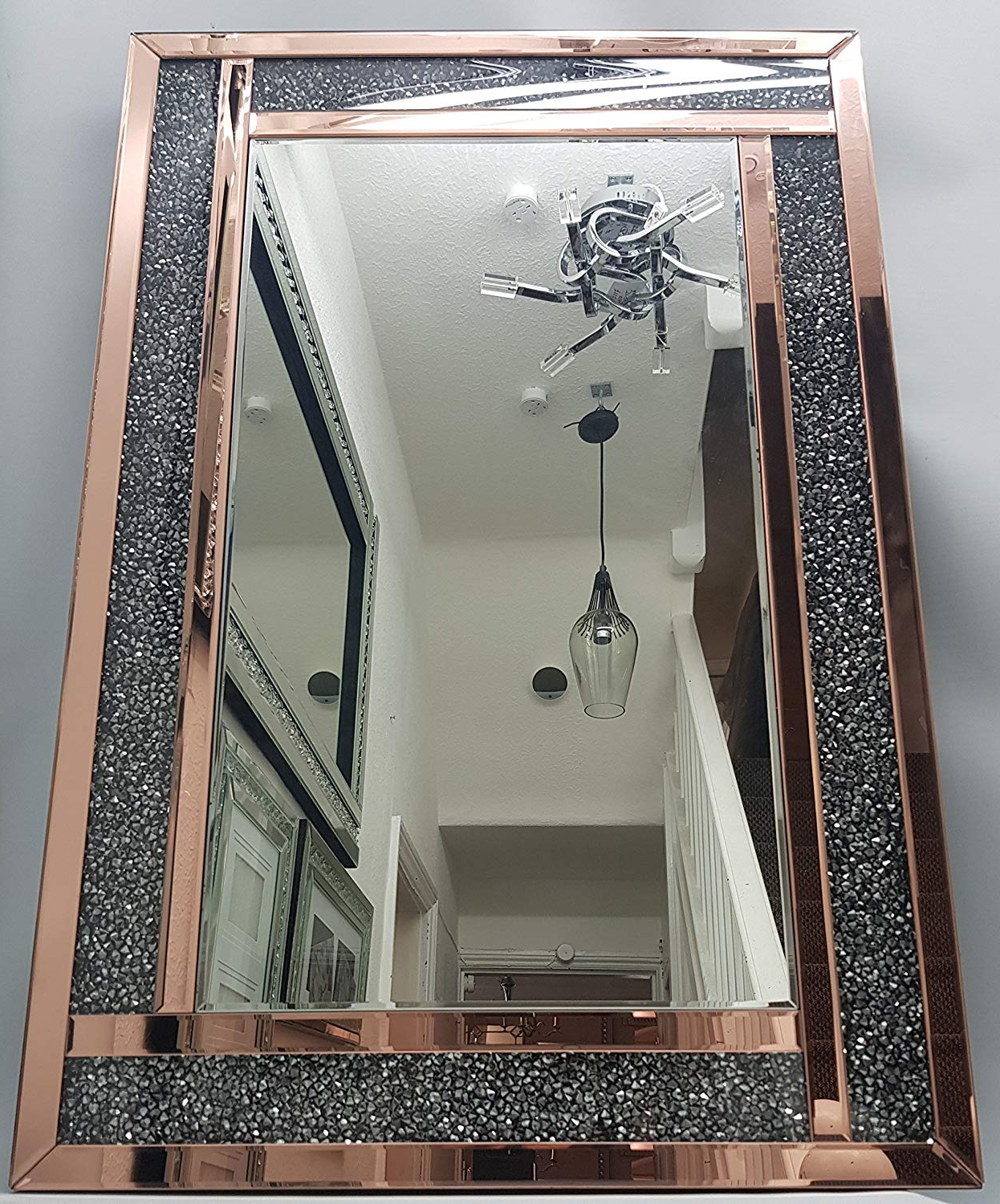 Favorite Large Gold Wall Mirrors With Mh Diamond Crush Rose Gold Premium Large Wall Mirror 60x (View 17 of 20)