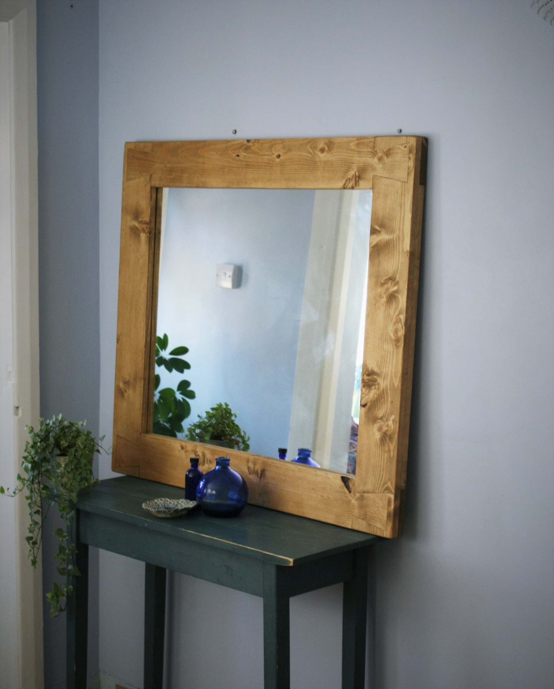 Favorite Large Wooden Wall Mirror, Thick & Chunky Eco Wood Frame 100 X 90 Cm, Handmade Modern Rustic, Country Farmhouse Style From Somerset Uk With Large Wooden Wall Mirrors (View 2 of 20)