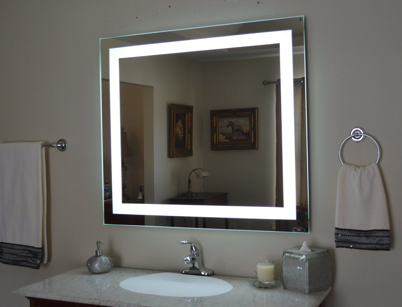 """Favorite Lighted Vanity Wall Mirrors In Front Lighted Led Bathroom Vanity Mirror: 44"""" X 36"""" – Rectangular (View 1 of 20)"""