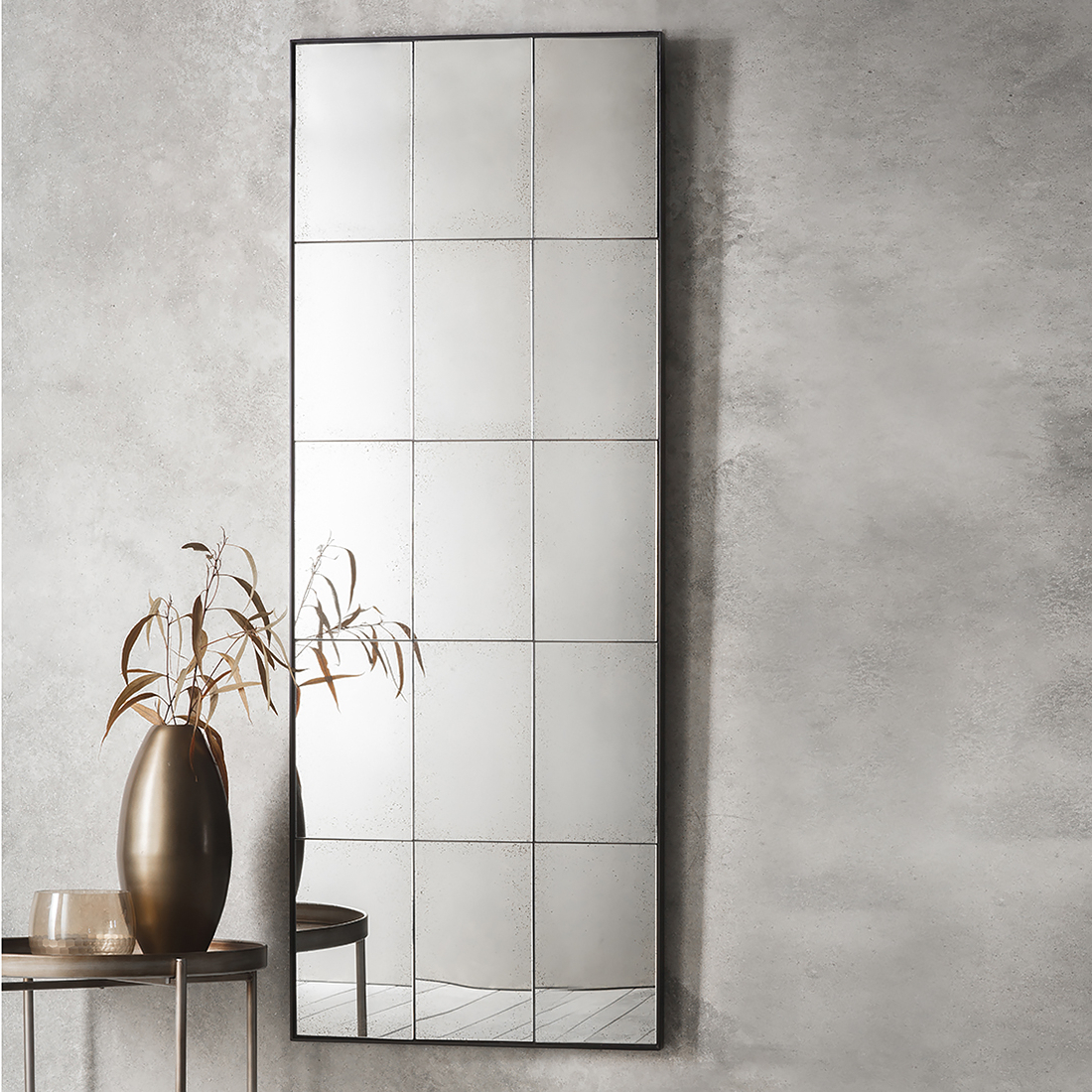 Favorite Long Black Wall Mirrors For Rectangular Black Panel Mirror With Vintage Glass (View 7 of 20)