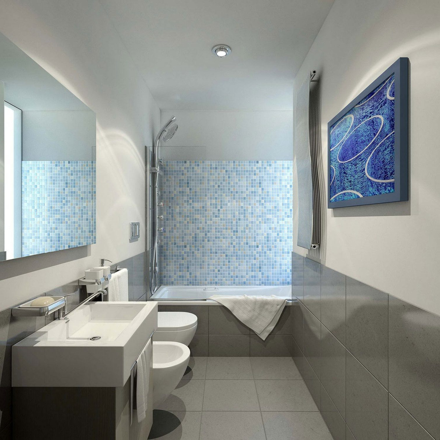 Favorite Long Narrow Bathroom Layout With Rectangular Wall Mirror And Modern In Long Narrow Wall Mirrors (View 18 of 20)