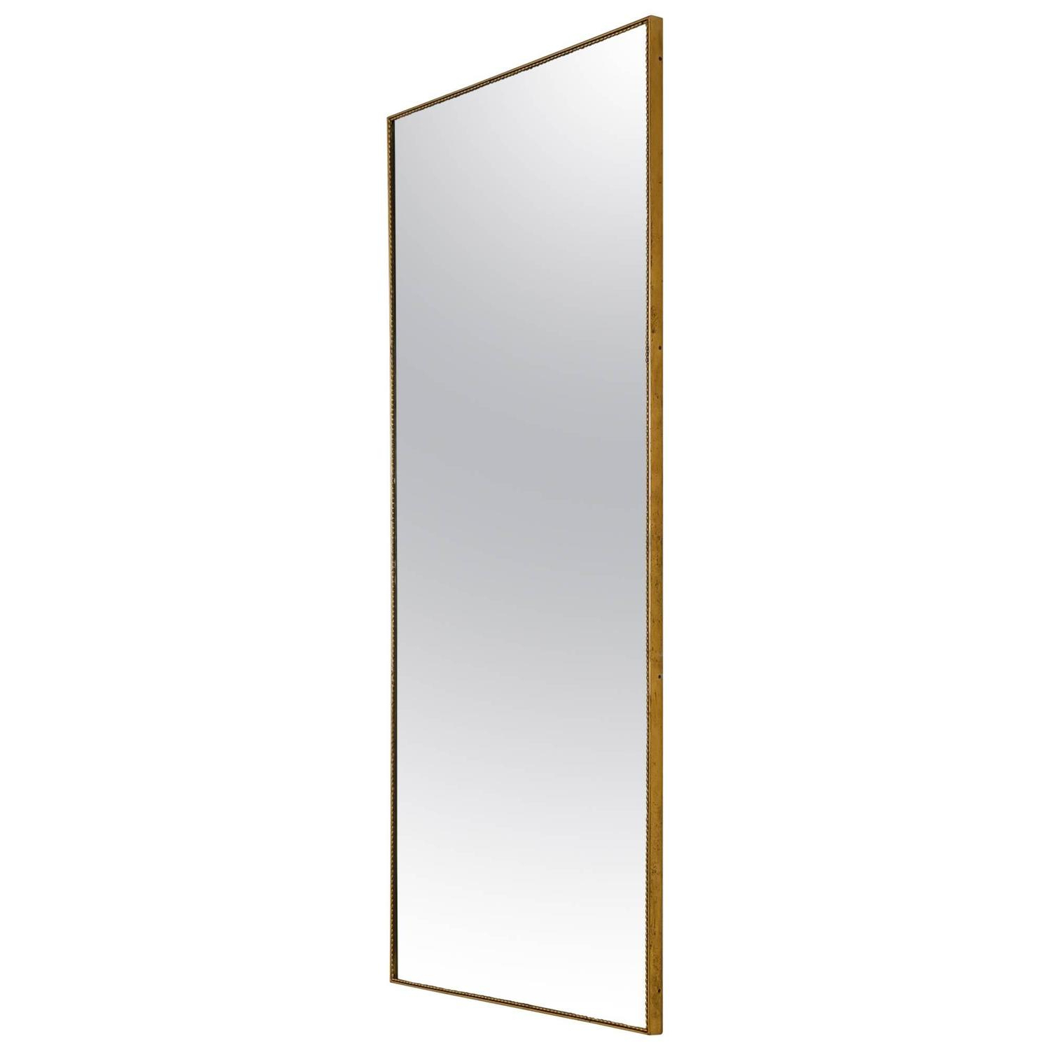 Favorite Long Rectangular Wall Mirrors With Large Rectangular Wall Mirror With Beaded Brass Frame, Italy, 1950S (View 9 of 20)