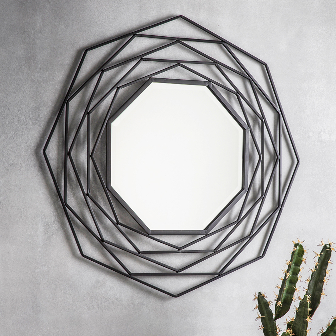 Favorite Metal Wall Mirrors Within Octagonal Black Geometric Wall Mirror (View 3 of 20)