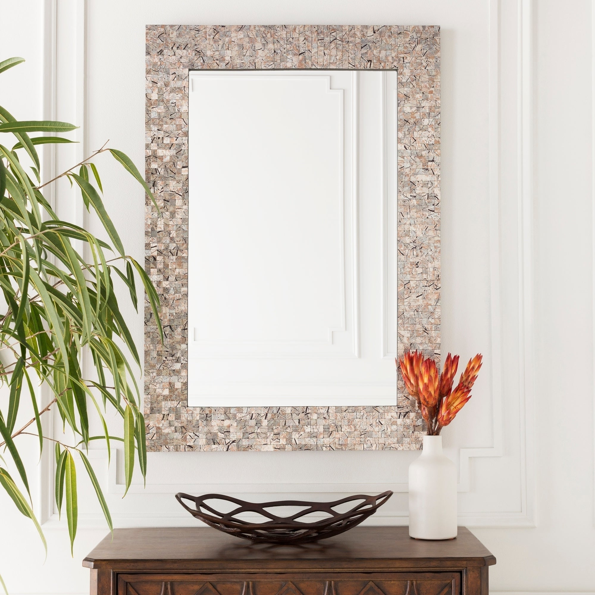 "Favorite Oldham Mother Of Pearl Inlaid Rectangular Wall Mirror – ""28 X 40"" – Pearl, Grey – 28"" X 40"" Throughout Mother Of Pearl Wall Mirrors (View 17 of 20)"