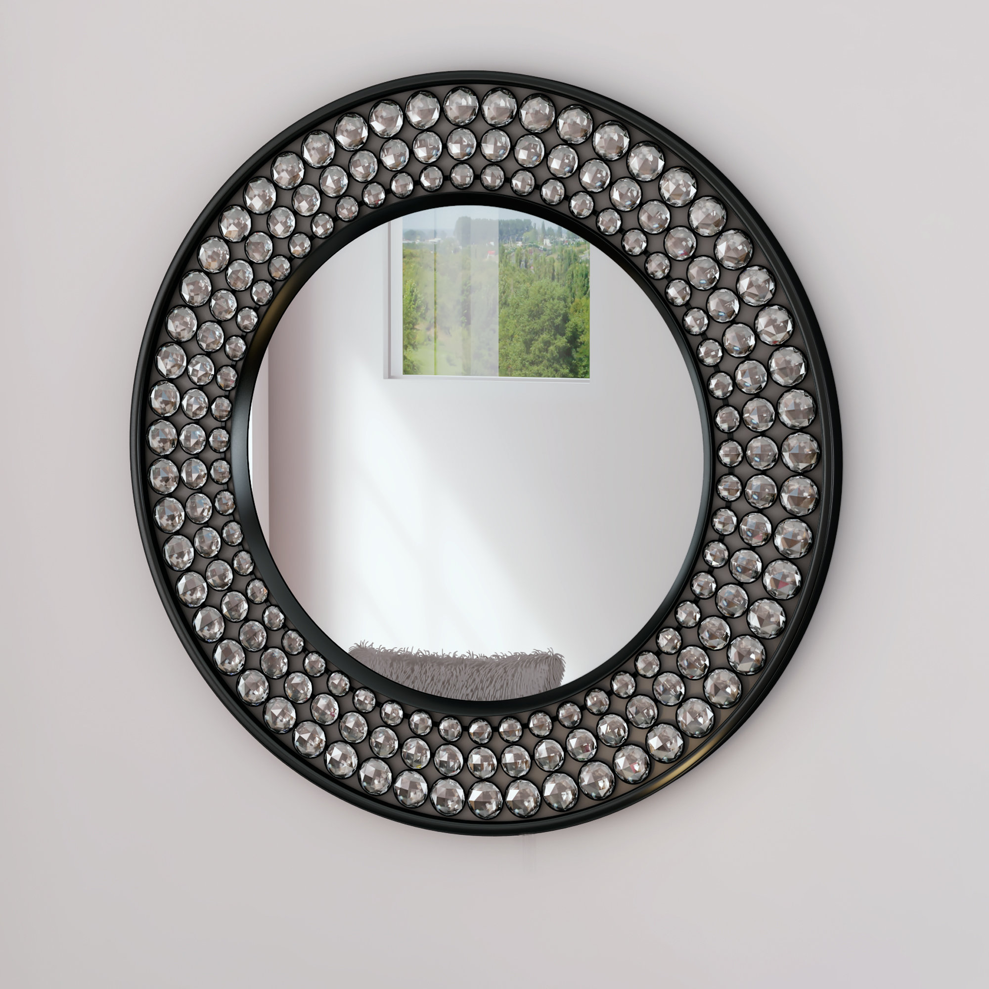 Favorite Point Reyes Molten Round Wall Mirrors Throughout Valerian Jeweled Round Wall Mirror (View 18 of 20)