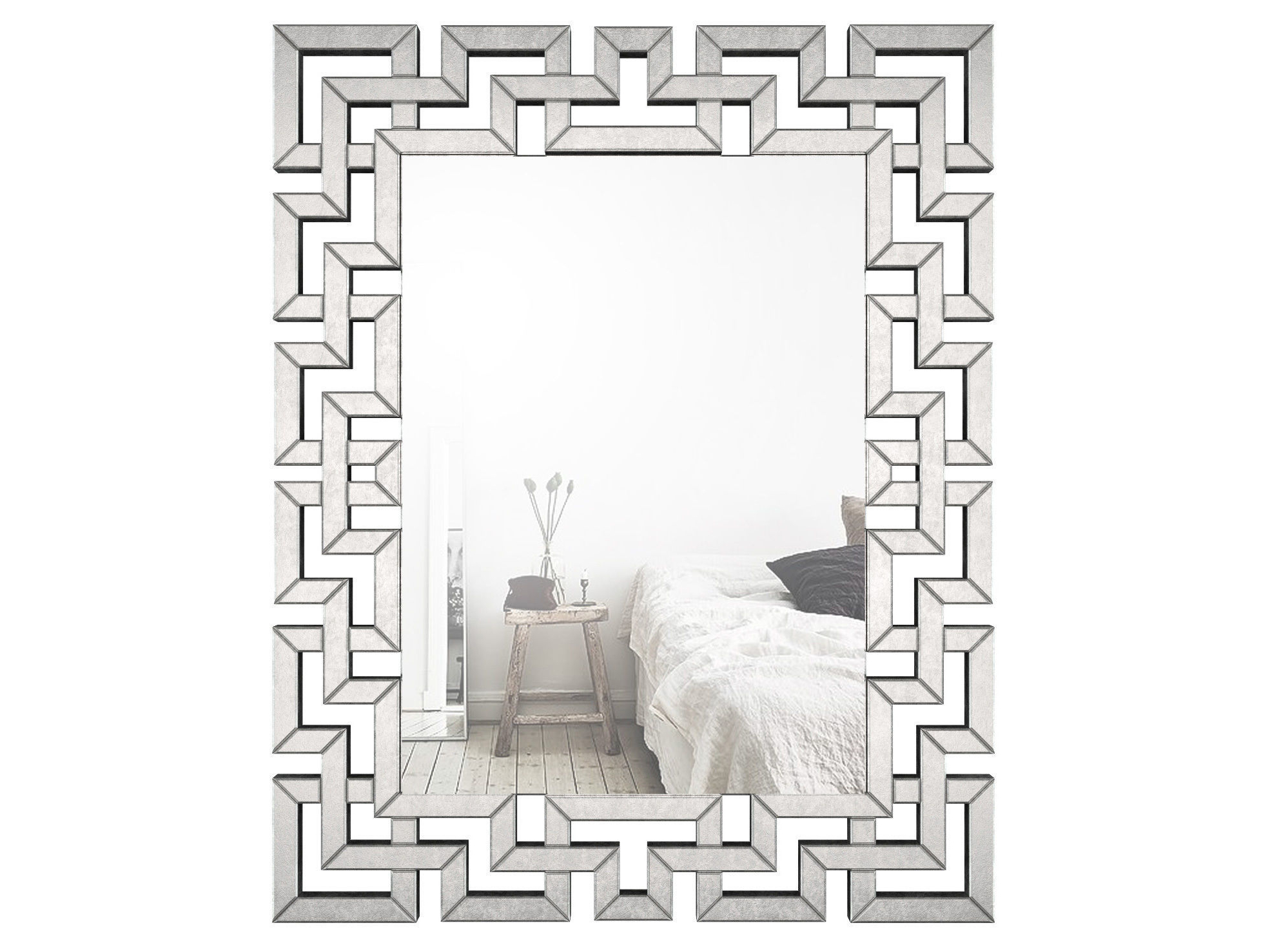Favorite Rectangle Ornate Geometric Wall Mirror Wlao (View 3 of 20)