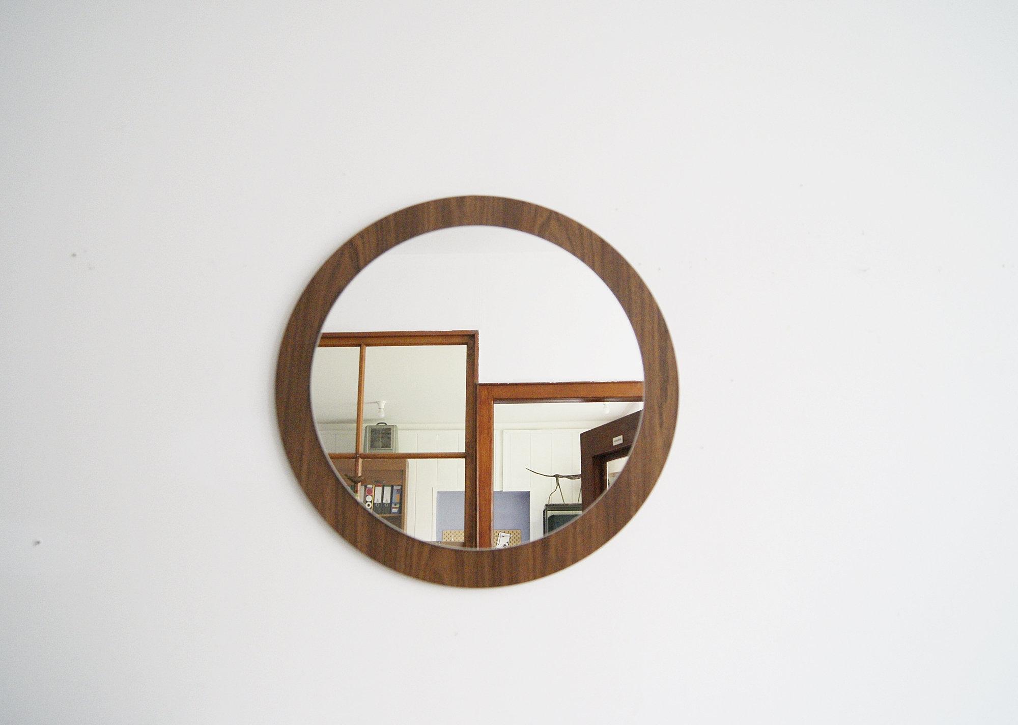 Favorite Round Mirror On Walnut Wood, Mid Century Mirror, Wall Mirror With Walnut Wood Wall Mirrors (View 9 of 20)