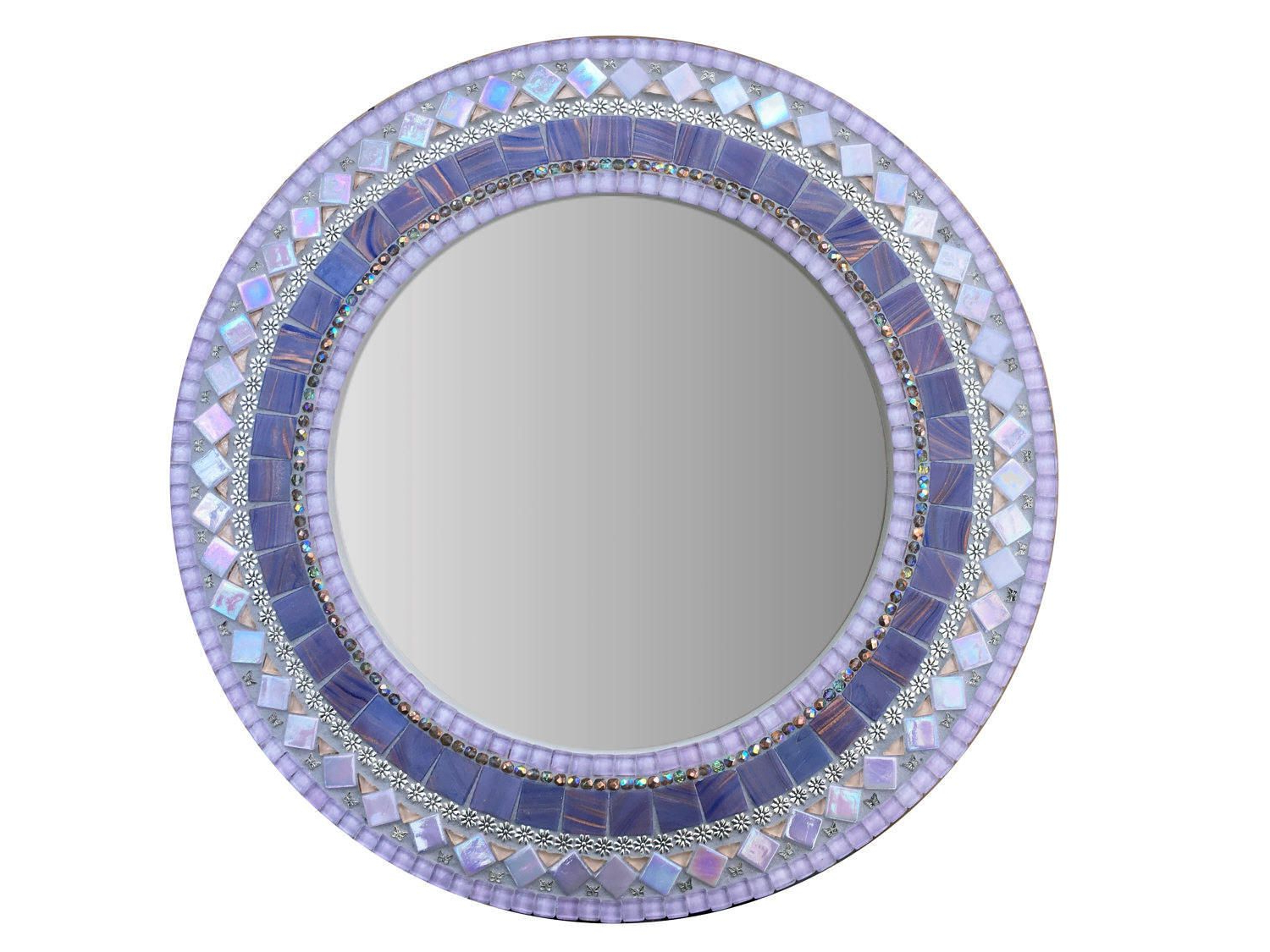 Favorite Round Mosaic Wall Mirrors Inside Purple Mosaic Mirror, Round Wall Mirror, Nursery Decor (View 19 of 20)