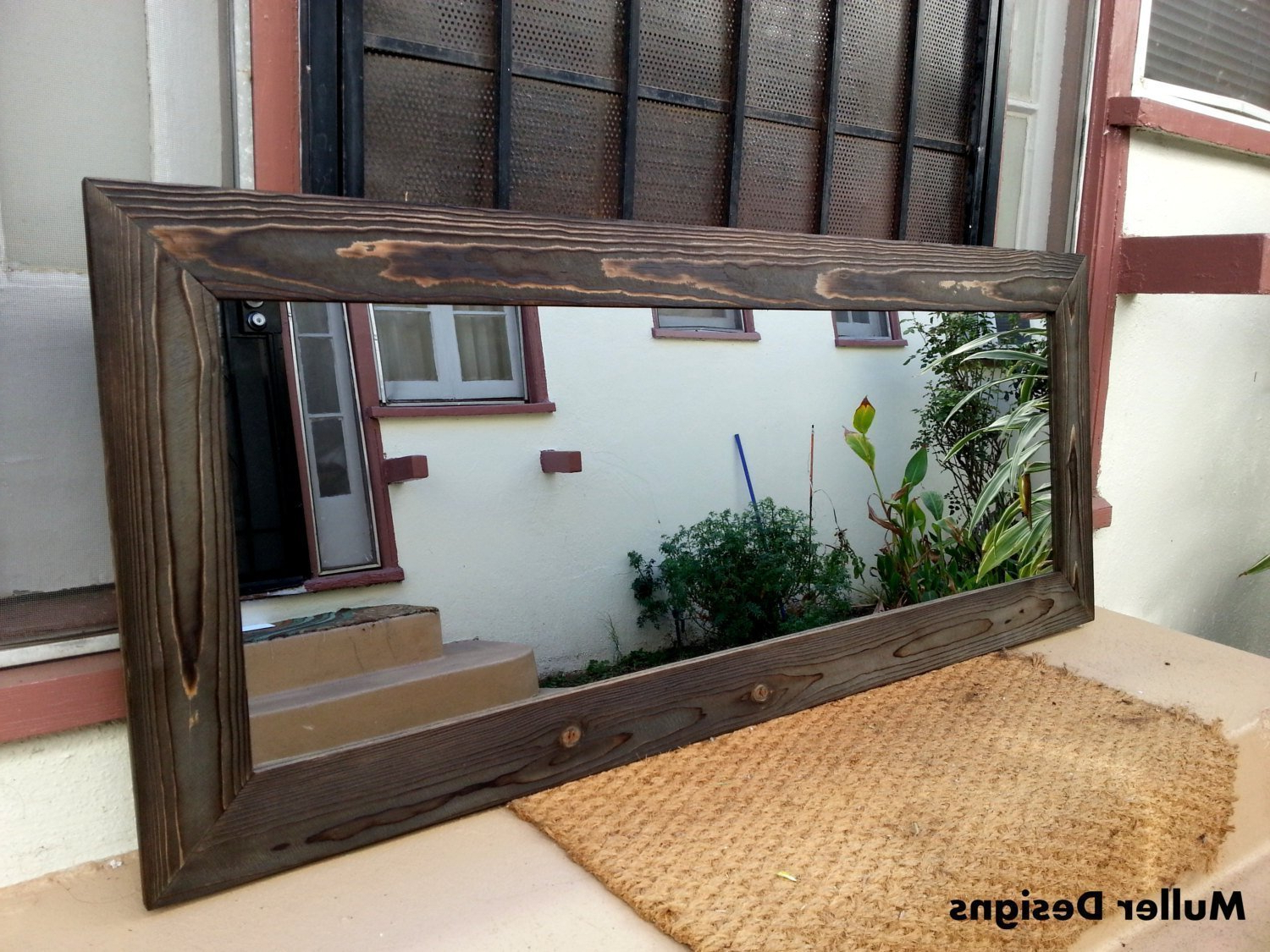 Favorite Rustic Wood Wall Mirrors Regarding Black Wood Mirror/reclaimed Wood Mirror/rustic Wood Mirror/wall Mirror/bathroom Mirror/decorative Mirror/large Mirror/full Length Mirror (View 11 of 20)