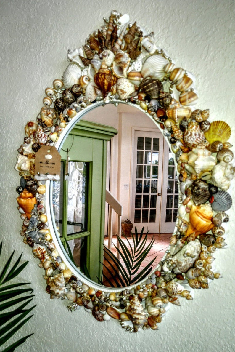 Favorite Seashell Wall Mirrors Intended For Large Seashell Wall Mirror (View 16 of 20)