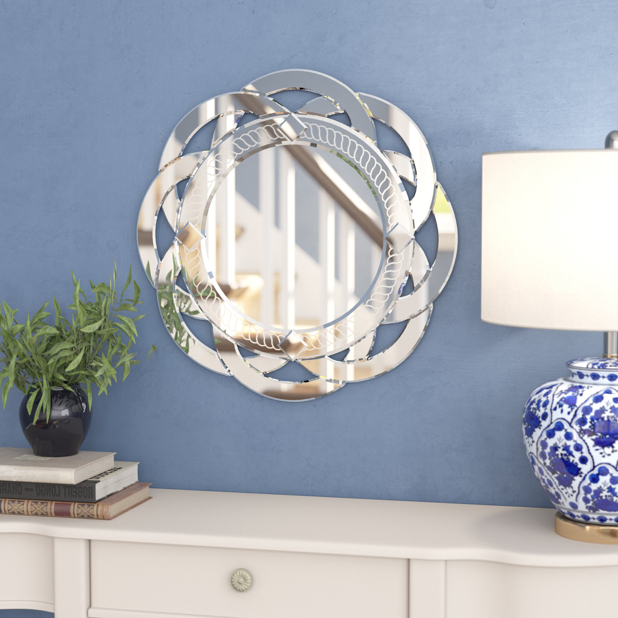 Favorite Tata Openwork Round Wall Mirrors In Flower Glass Wall Mirror (View 6 of 20)
