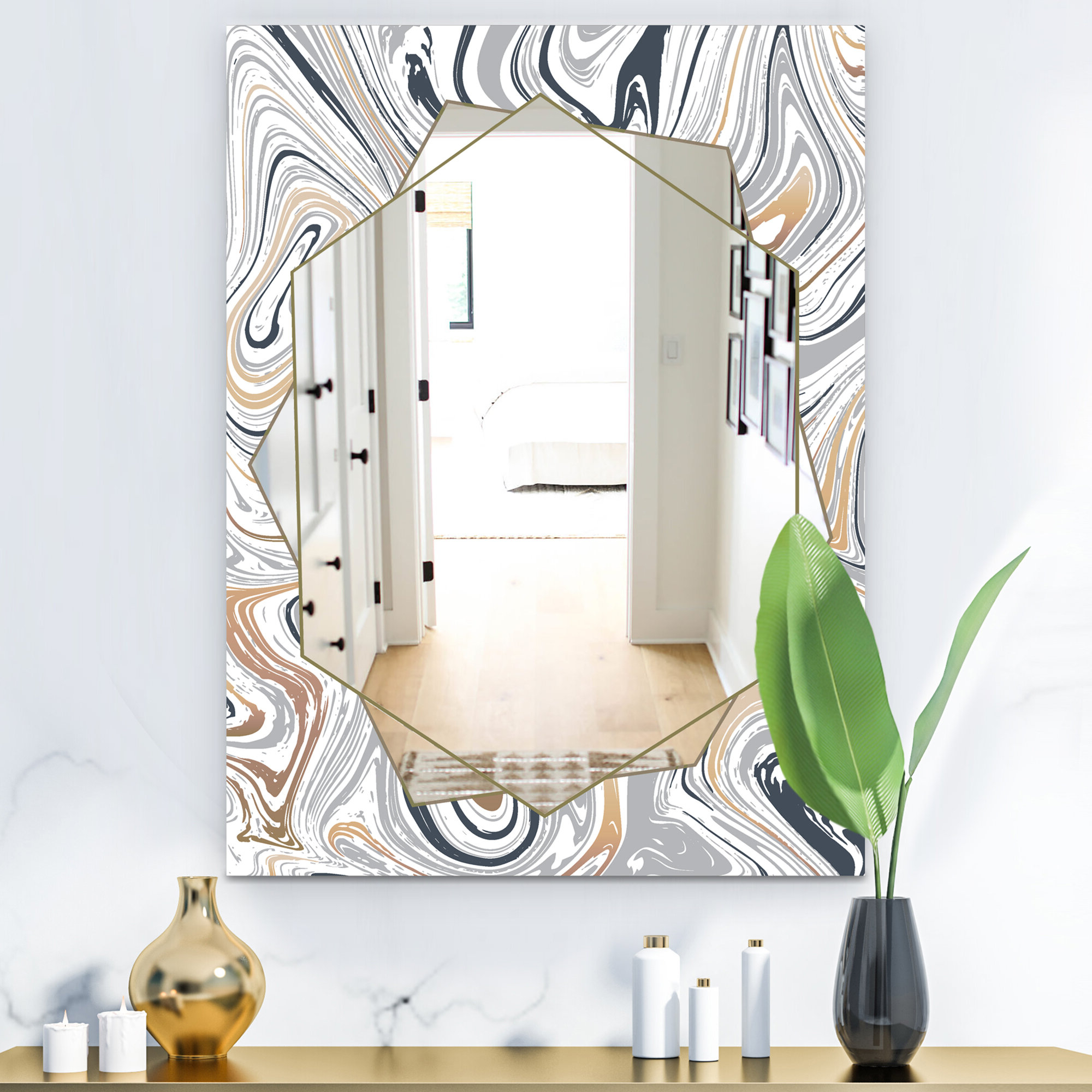 Favorite Traditional Frameless Diamond Wall Mirrors Inside Marbled Diamond Traditional Frameless Bathroom Mirror (View 7 of 20)