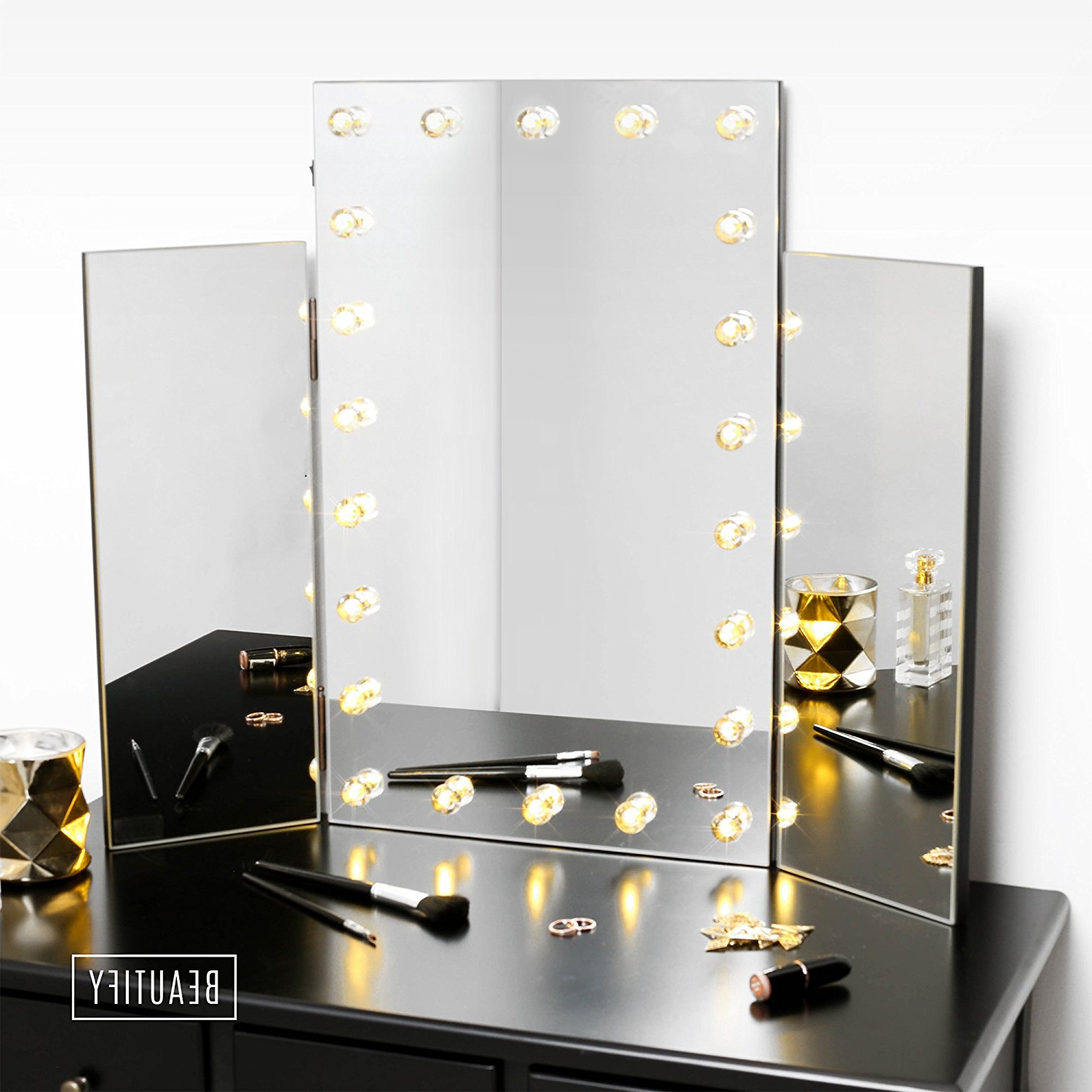 Favorite Tri Fold Wall Mirrors Inside Mirrors: Use Tri Fold Vanity Mirror To View Yourself At (View 5 of 20)
