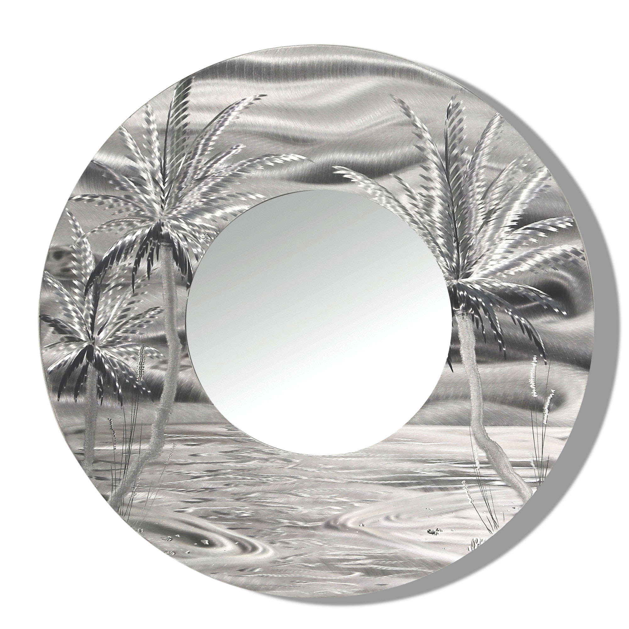 Favorite Tropical Wall Mirrors Inside Mirror 106 – Modern Tropical Metal Wall Mirror – Silver Abstract Palm Tree Metal Accent Art (View 7 of 20)