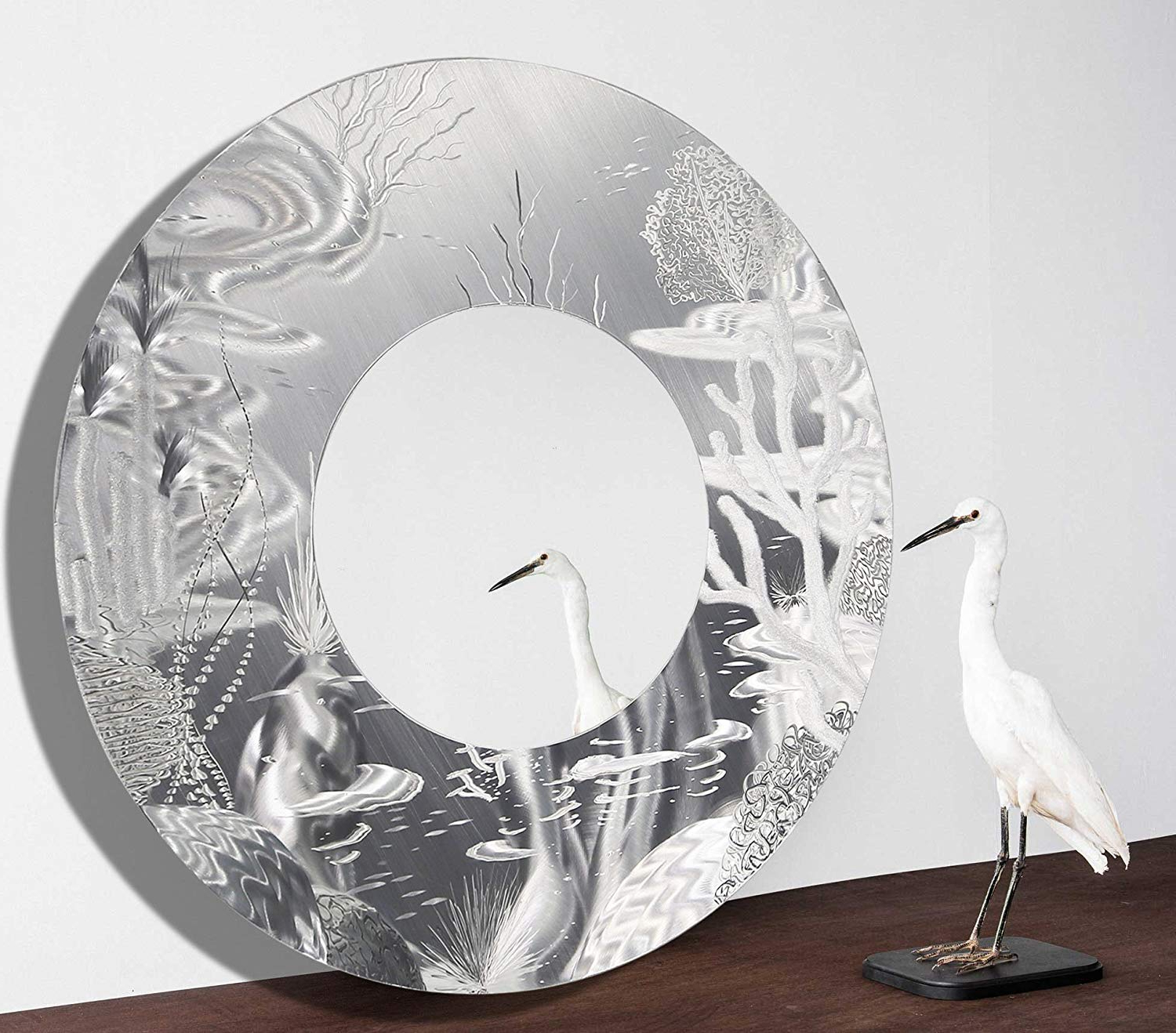 Favorite Tropical Wall Mirrors Pertaining To Amazon: Large Round Silver Tropical Modern Metal Wall (Gallery 15 of 20)