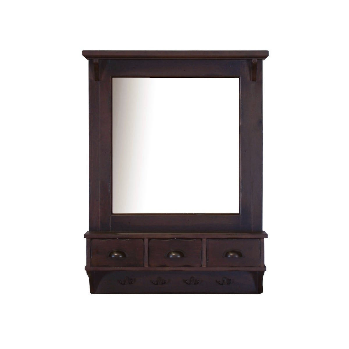 Favorite Wall Mirrors With Drawers Pertaining To Bombay Brown Wall Mirror With Drawers And Hooks – A/n (Gallery 2 of 20)