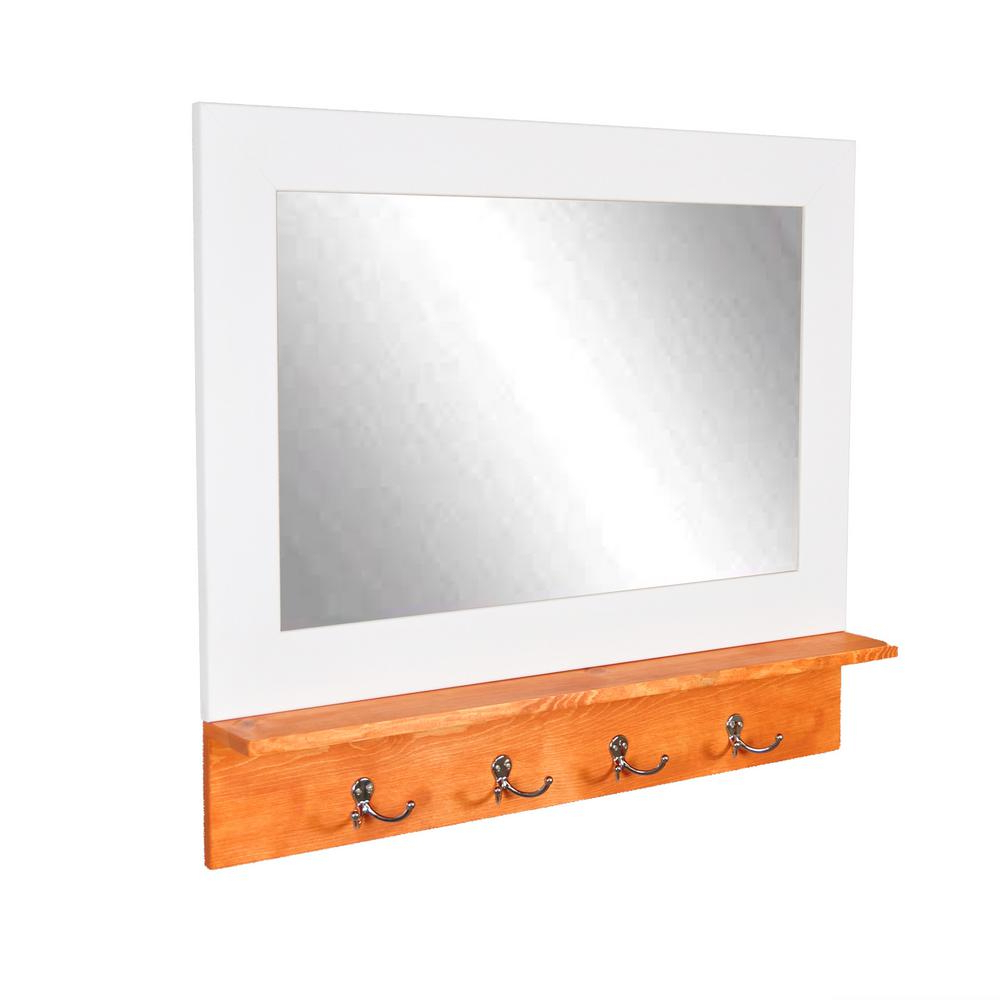 Favorite White Wall Mirrors With Hooks For Brandtworks Matte White Small Mirror With Maple Shelf And (View 14 of 20)
