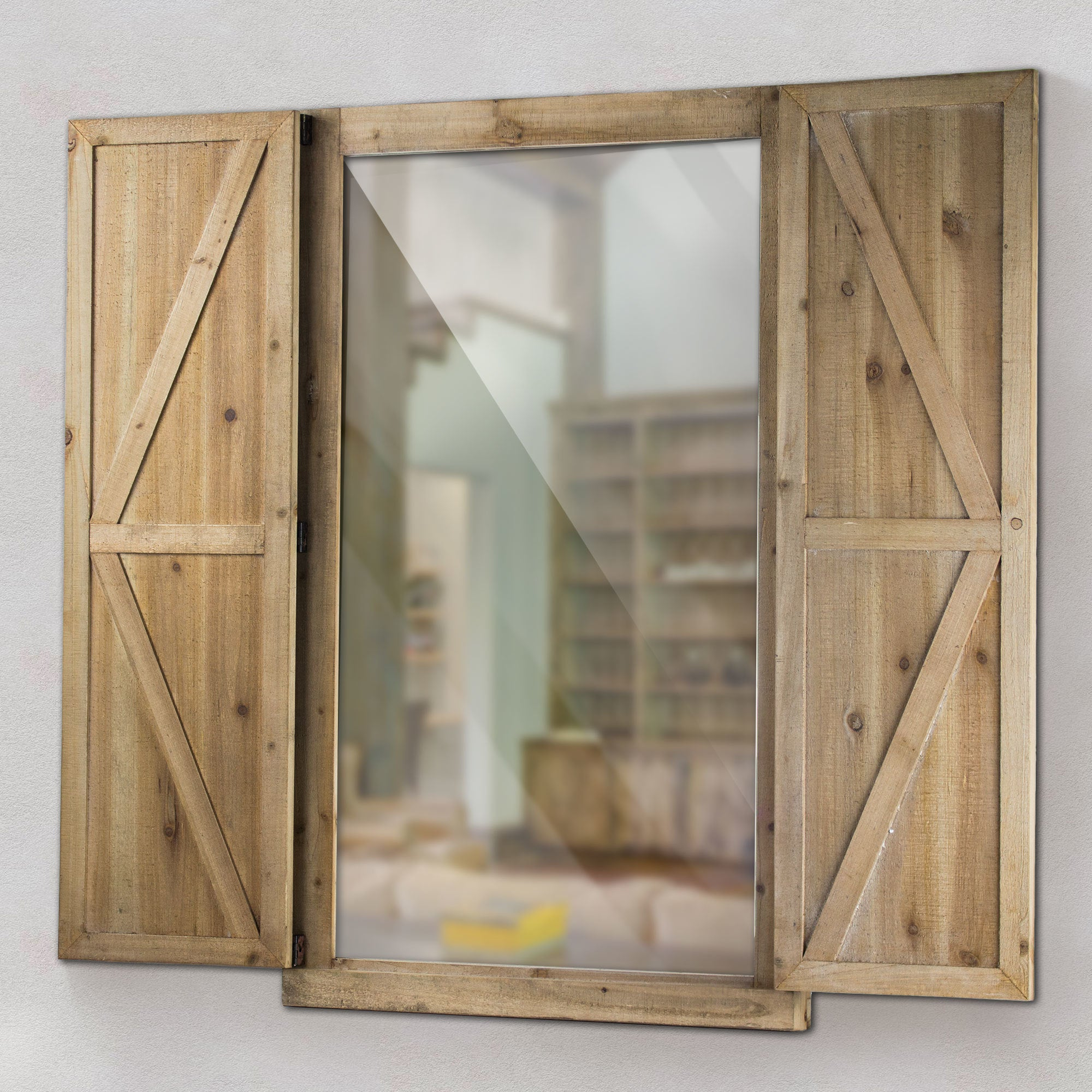 Favorite Wood Wall Mirrors Pertaining To Shuttered Wall Mirror With Rustic Wooden Frame Farmhouse Decor (Gallery 12 of 20)