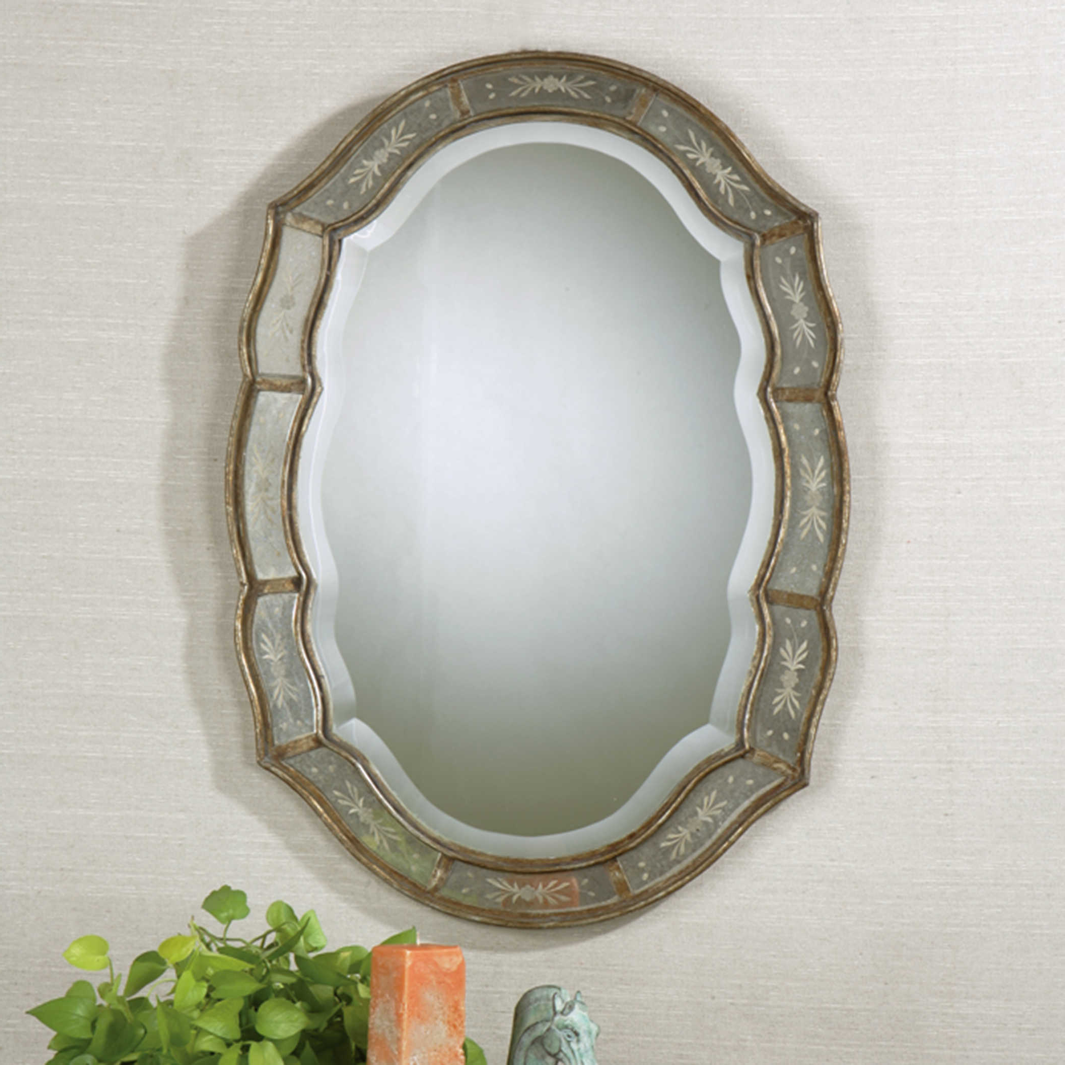 Fifi Contemporary Arch Wall Mirrors For Most Popular Uttermost Fifi Etched Antique Gold Mirror (View 7 of 20)
