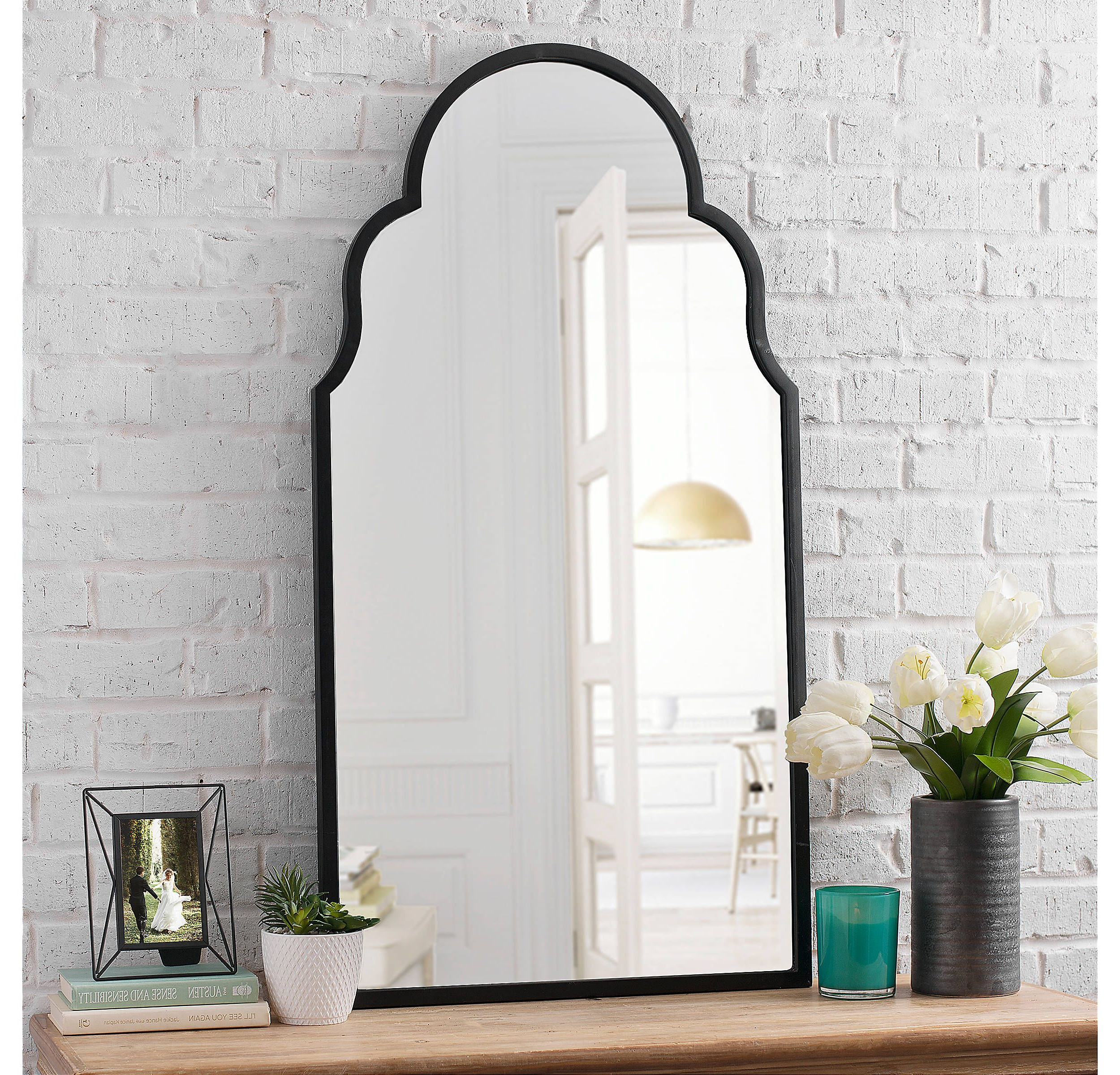 Fifi Contemporary Arch Wall Mirrors Within 2019 Product Details Maria Metal Black Arch Wall Mirror In  (View 9 of 20)