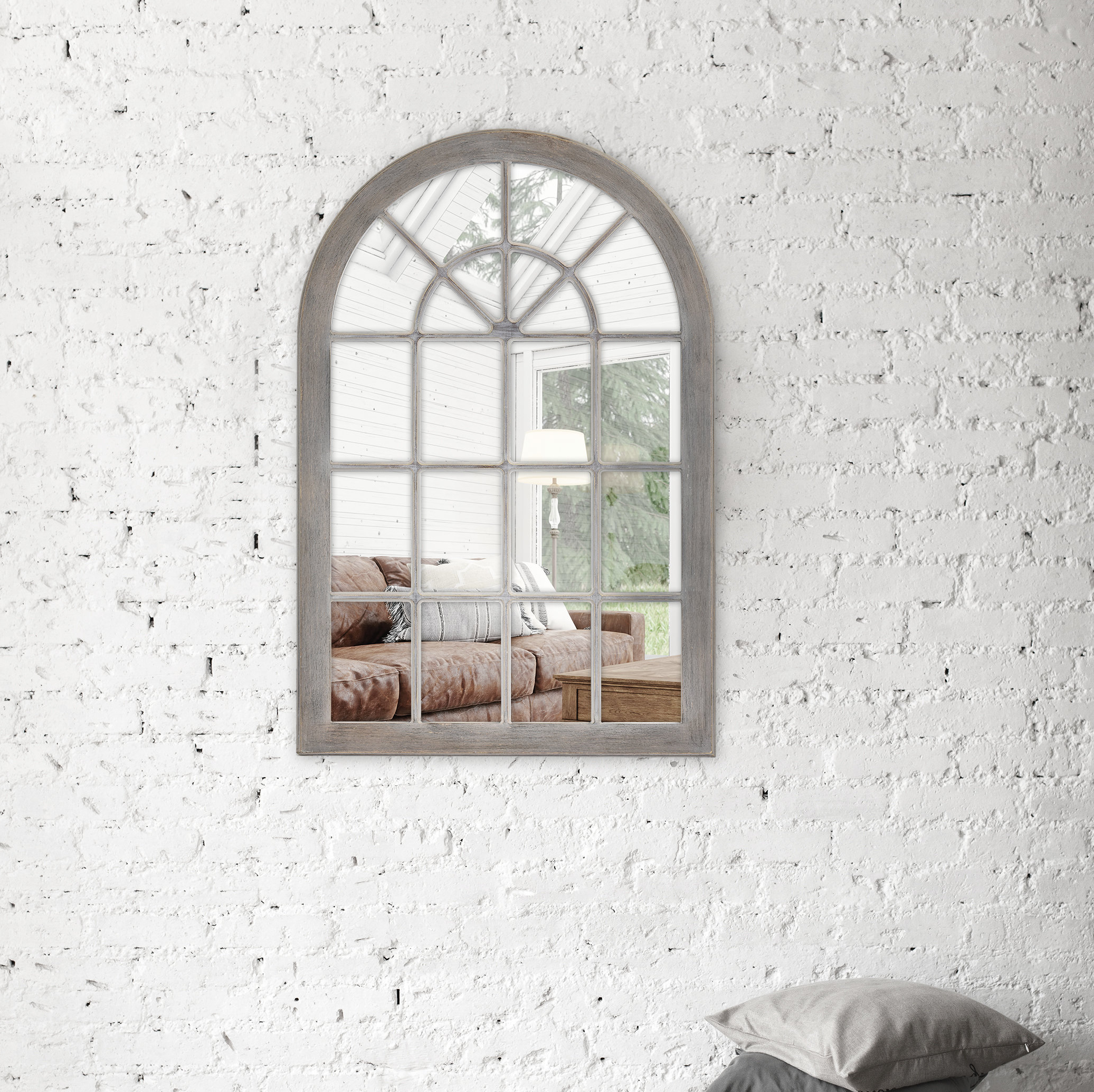 Firth Arched Windowpane Wall Accent Mirror Within Most Recent Mcnary Accent Mirrors (View 4 of 20)