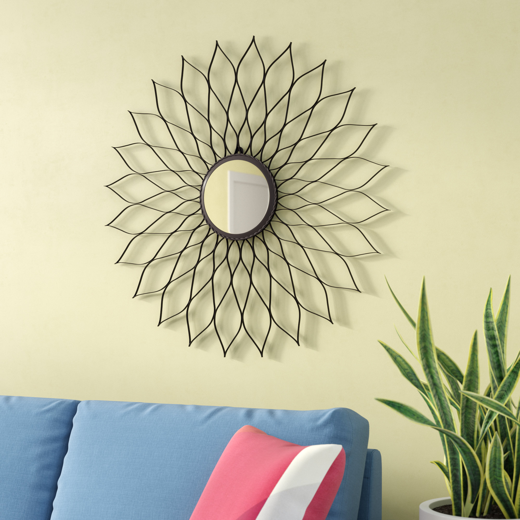 Fleur De Lis Living Newtown Accent Mirror Regarding Popular Carstens Sunburst Leaves Wall Mirrors (View 3 of 20)