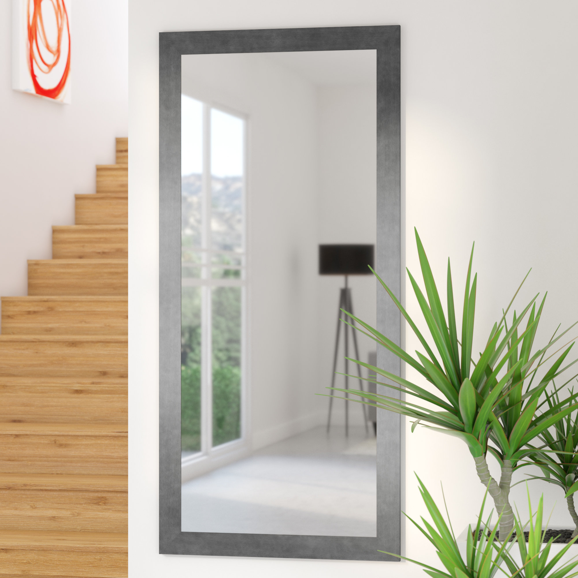 Floor To Wall Mirrors Regarding Current Silver Gunmetal Aluminum Frame Modern & Contemporary Wall Mirror (View 7 of 20)