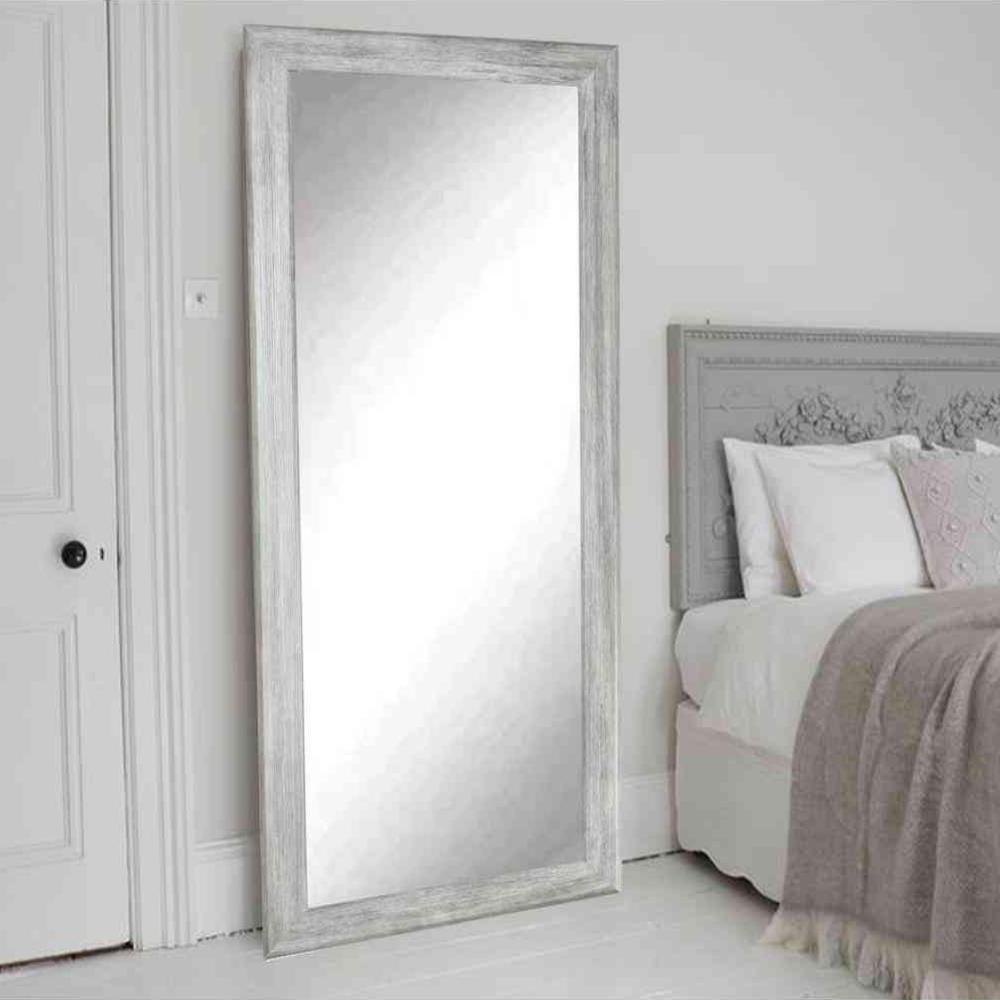 Floor Wall Mirrors Throughout Well Known Weathered Gray Full Length Floor Wall Mirror (View 8 of 20)