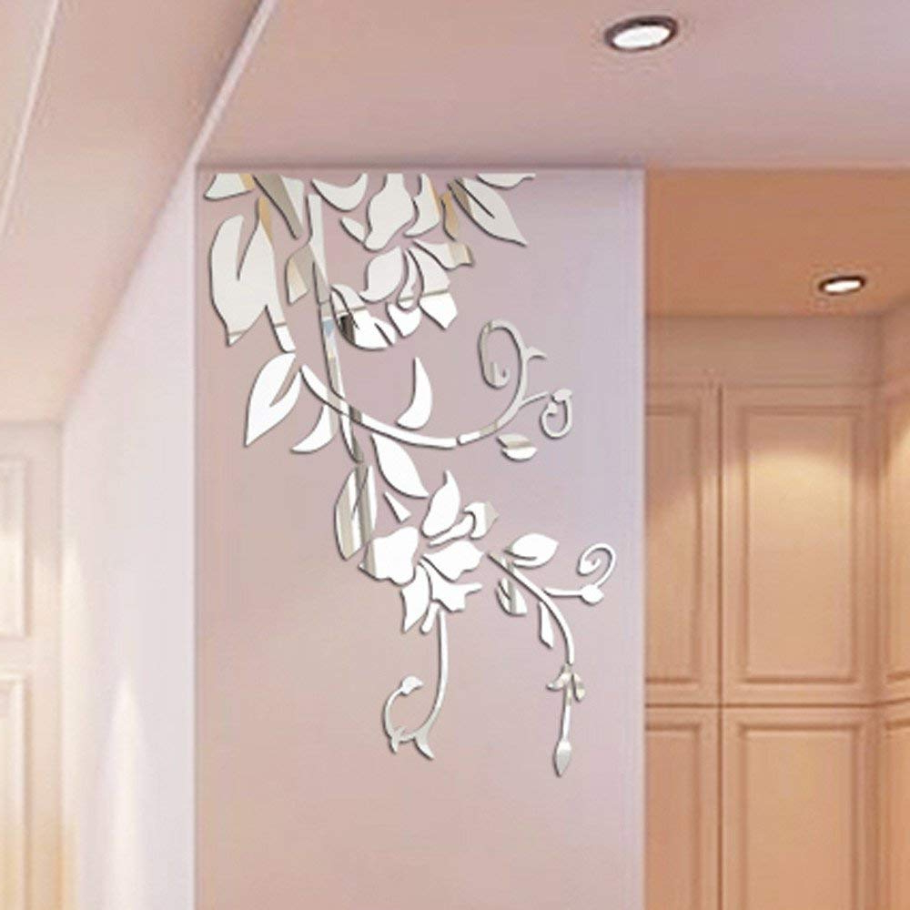 Flower Wall Mirrors Intended For Well Liked Buy Rumas 3D Mirror Flower Wall Stickers For Living Room – Diy Home (View 10 of 20)