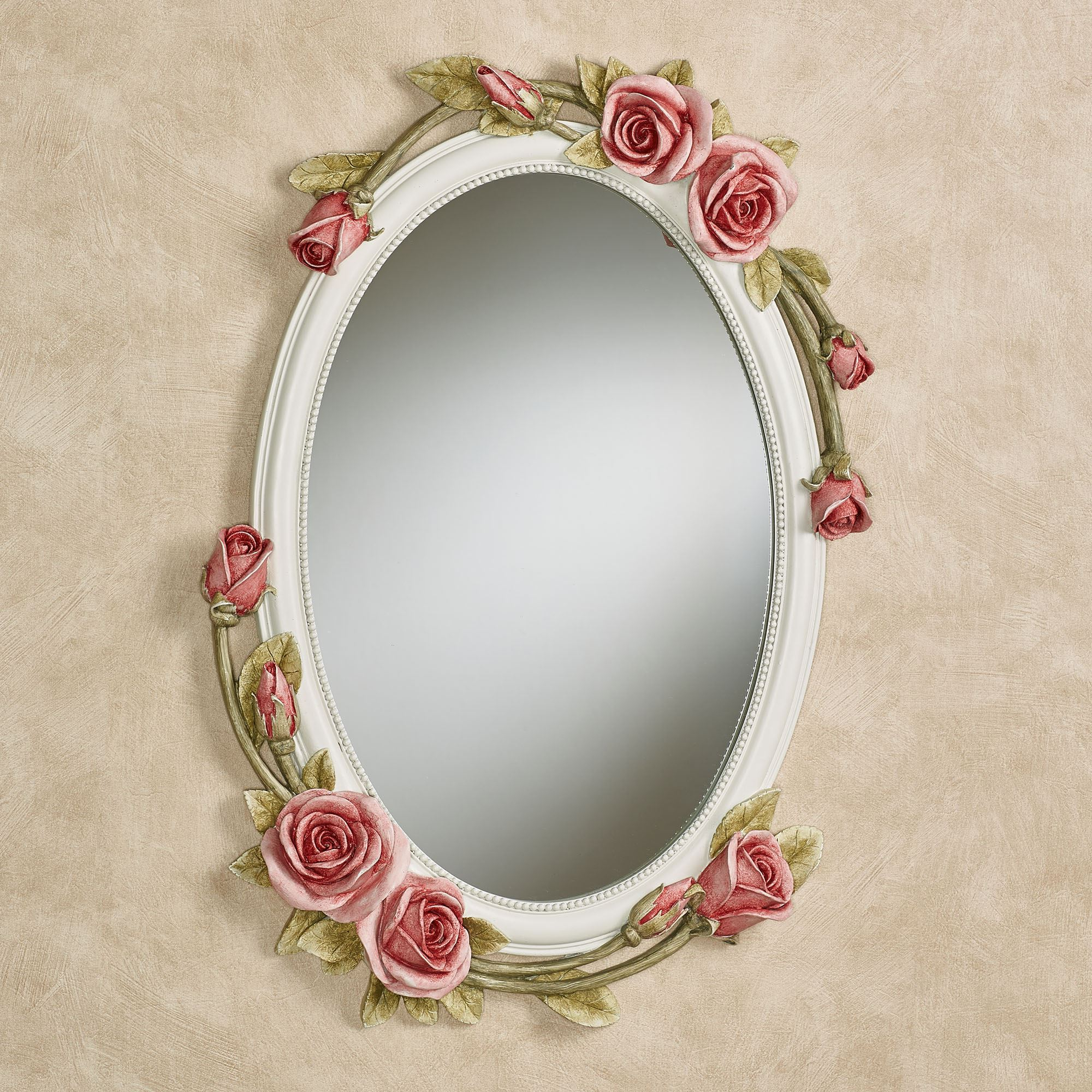 Flower Wall Mirrors With Best And Newest Rose Melody Rose Floral Oval Wall Mirror (View 11 of 20)