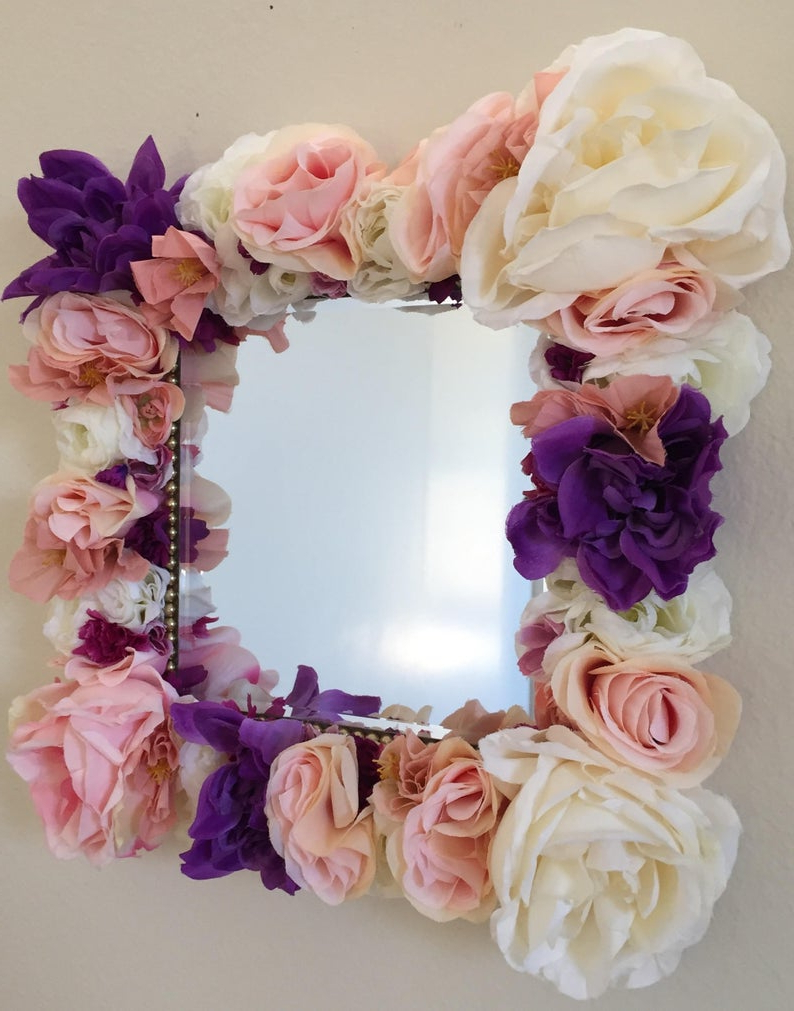 "Flower Wall Mirrors With Regard To Latest Handmade Flower Wall Mirror – Square 8"" Vanity Mirror – Cute Flower Mirror  – Shabby Chic Bedroom Mirror – Flower Framed Mirror – Fm (View 12 of 20)"