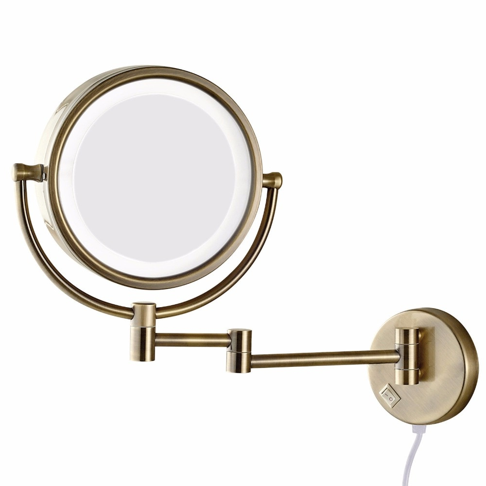 Folding Wall Mirrors With Regard To Current Gurun 10X Magnification Vanity Lighted Makeup Mirror Led Lights (View 8 of 20)