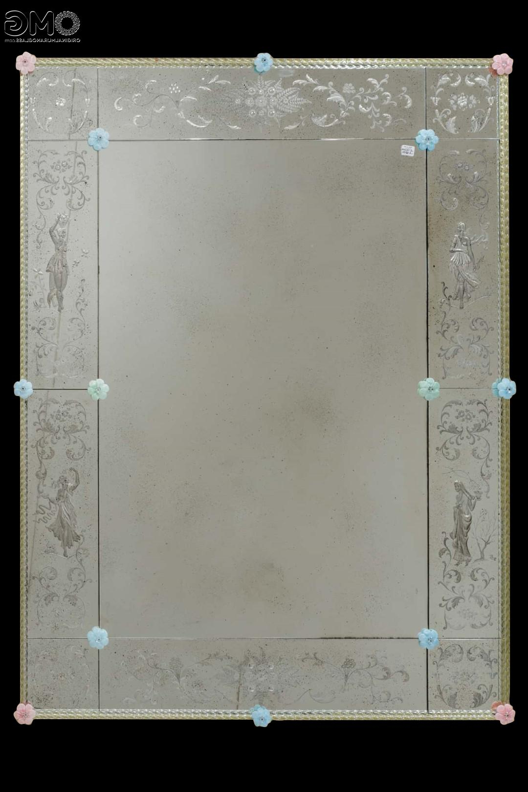 Four Seasons – Wall Venetian Mirror – Engraved With Murano Glass With Regard To Most Up To Date Decorative Etched Wall Mirrors (View 7 of 20)