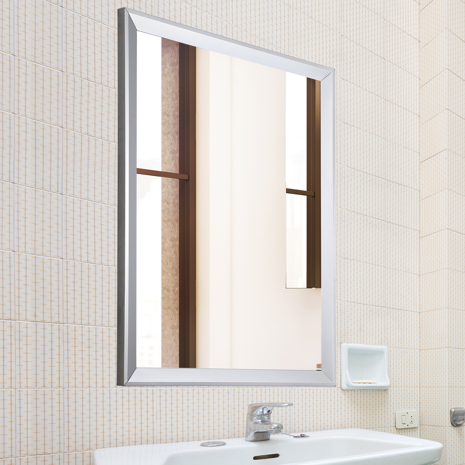 "Frame Bathroom Wall Mirrors Regarding Trendy Details About 24""x32"" Framed Bathroom Wall Mirror Rectangular Vanity Glass Beveled Home Decor (View 15 of 20)"