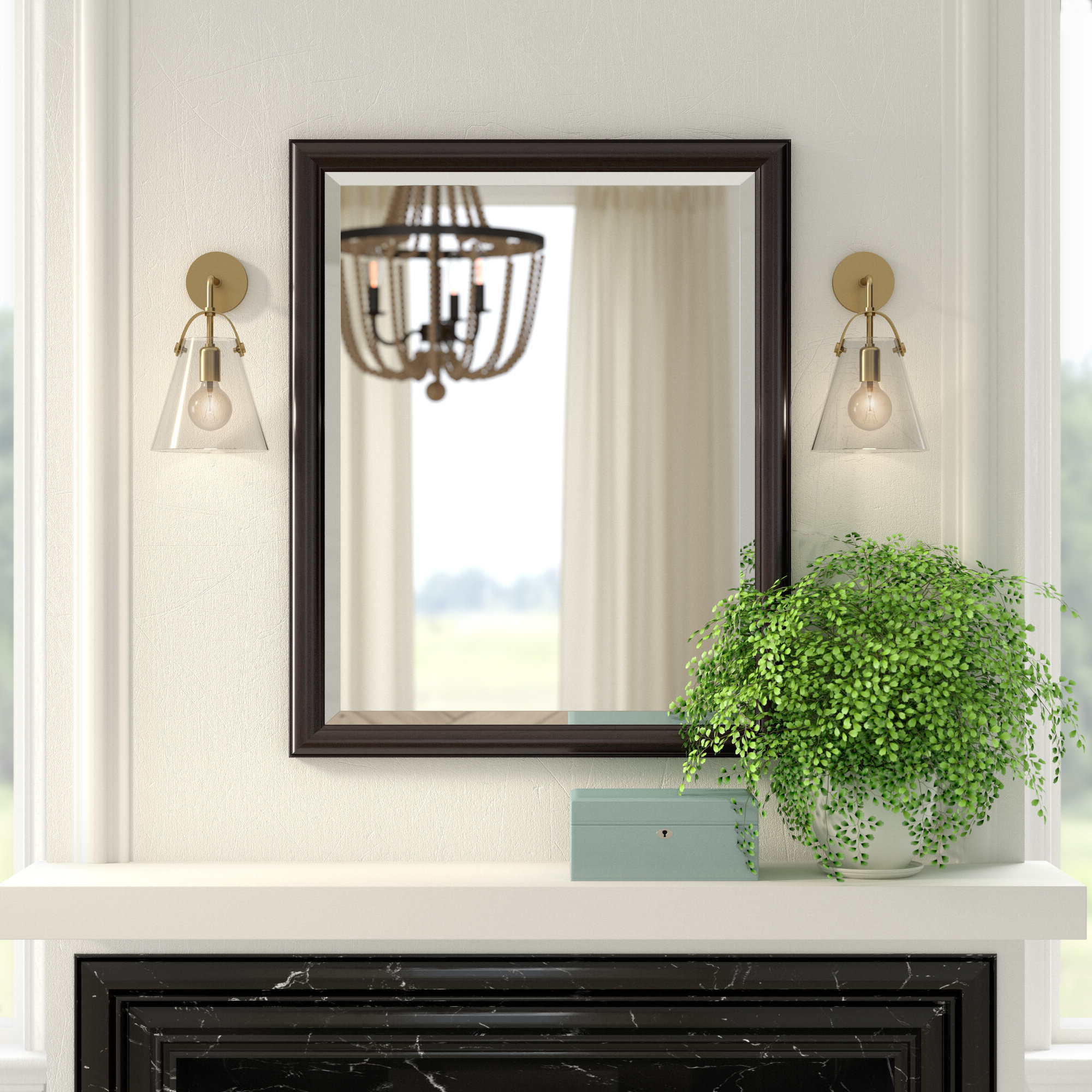 Framed Beveled Wall Mirror Throughout Famous Living Room Wall Mirrors (View 17 of 20)