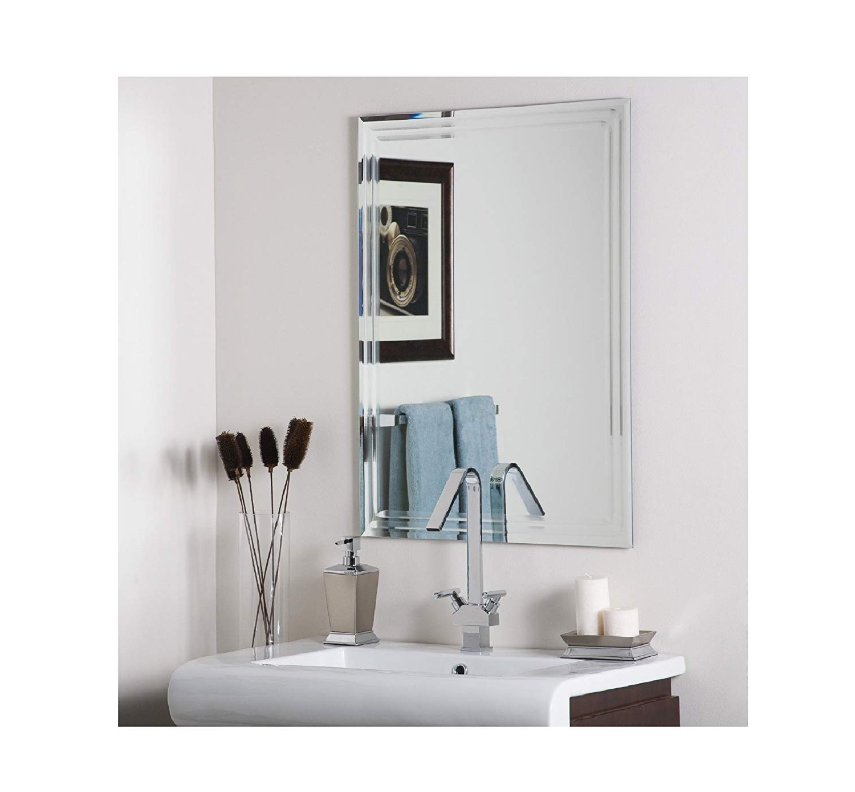 Frameless Bathroom Wall Mirrors Inside Well Liked Andaya Frameless Bathroom Wall Mirror (View 7 of 20)