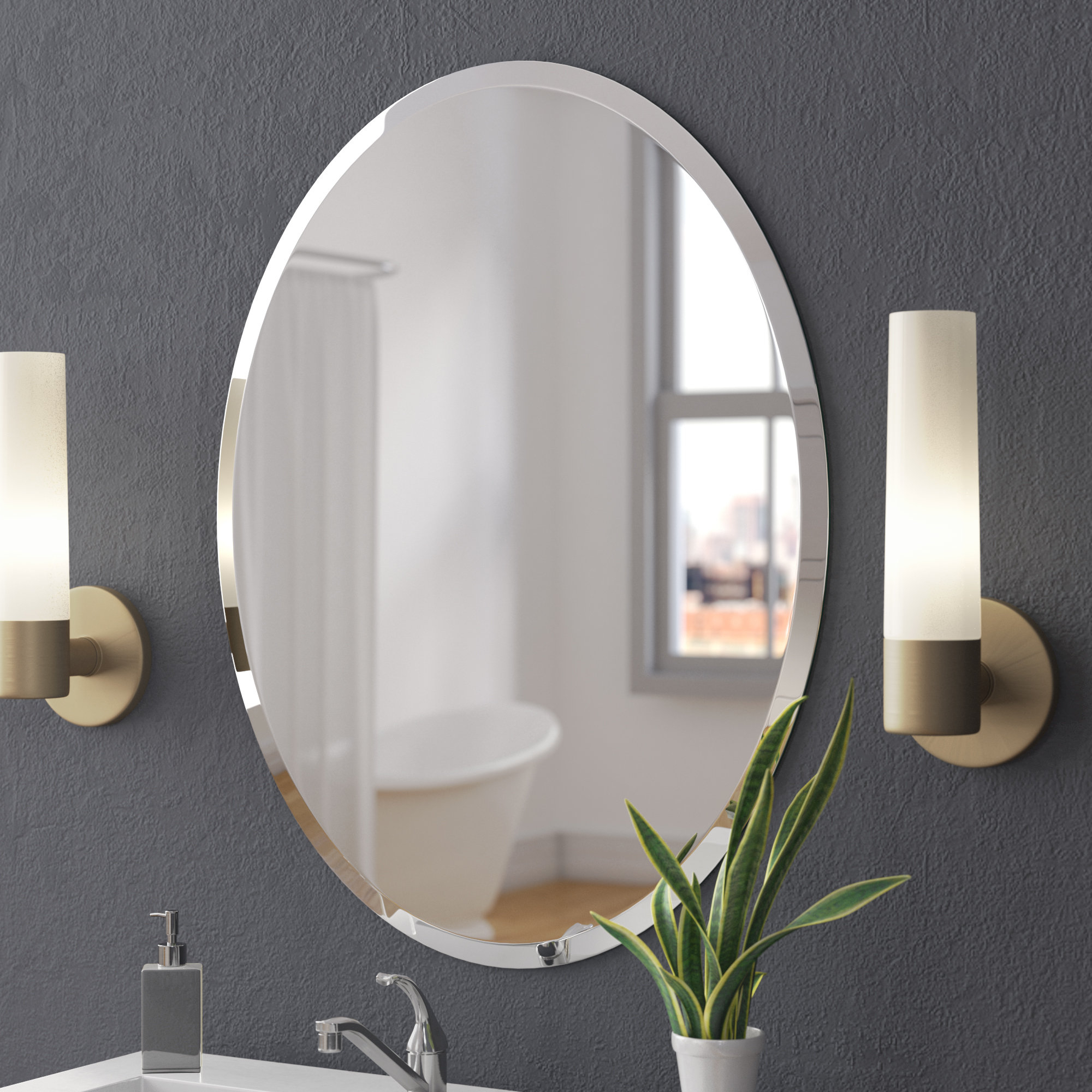 Frameless Bathroom Wall Mirrors Pertaining To Most Current Callison Oval Bevel Frameless Wall Mirror (View 8 of 20)